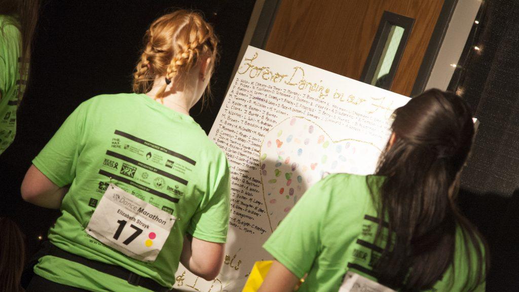 Dance+Marathon+participants+Elizabeth+Struyk+and+Elizabeth+Fuller+read+a+board+in+the+%22Dancing+in+Our+Hearts%22+room+during+Dance+Marathon+24+at+the+Iowa+Memorial+Union+on+Fri+Feb+2%2C+2018.+Dance+Marathon+raises+money+for+pediatric+cancer+research.+%28Shivansh+Ahuja%2FThe+Daily+Iowan%29
