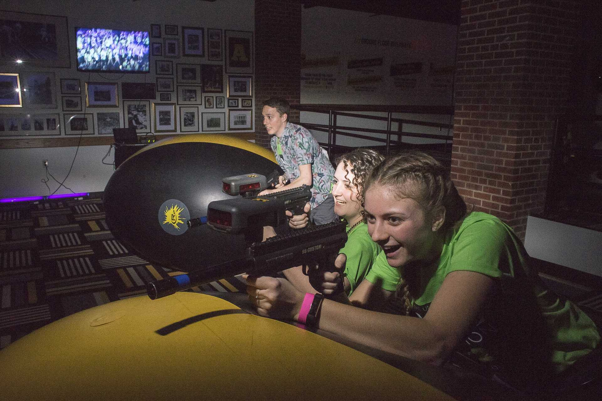 Participants play laser tag during Dance Marathon in the Iowa Memorial Union on Friday, Feb. 2, 2018. (James Year/The Daily Iowan)