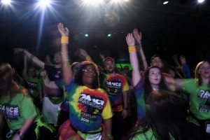 Dancers participate in Jazzercise during Dance Marathon at the Iowa Memorial Union on Saturday, Feb. 3, 2018. (Nick Rohlman/The Daily Iowan)