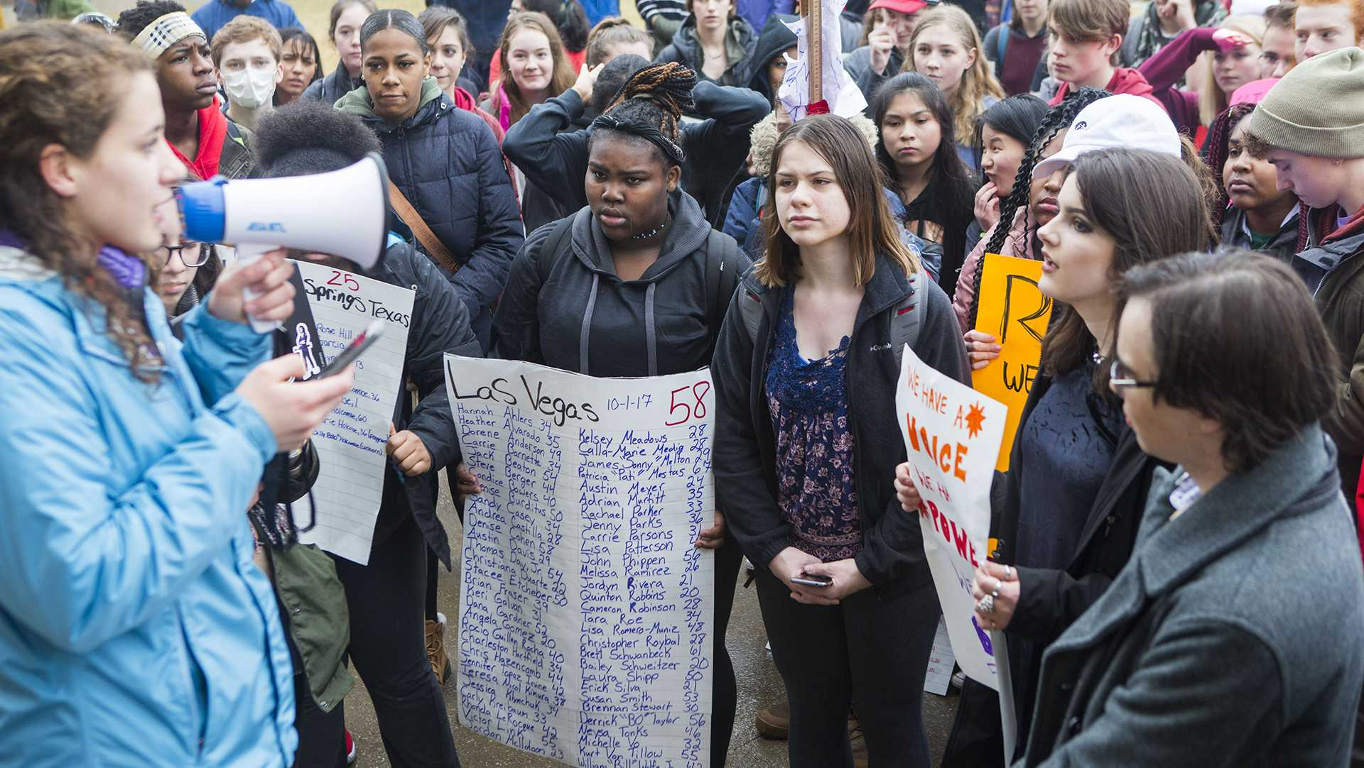 Iowa City High School and Southest Junior High School students protest on the Pentacrest on Monday, Feb. 19, 2018. The protest was sparked after news of another school shooting, at Marjory Stoneman Douglas High School, in Parkland, FL on, Feb. 14. (Lily Smith/The Daily Iowan)