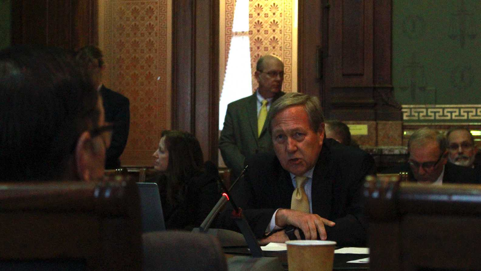 UI President Bruce Harreld testifies to the Iowa House Appropriations Committee on Feb. 21, 2018. The meeting allowed regent university presidents to advocate for the Legislature to fund their institutions' fiscal 2019 appropriations requests. (Marissa Payne/The Daily Iowan)