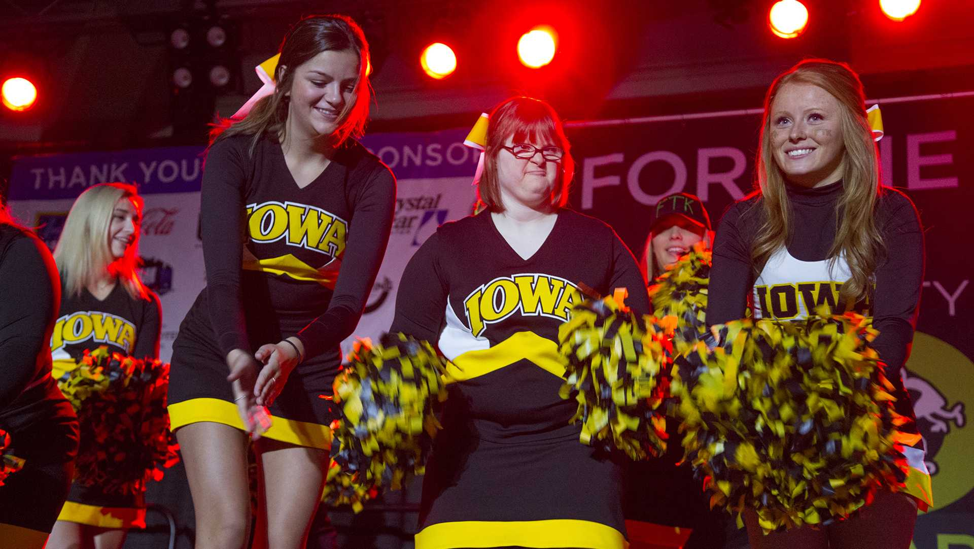 The Hawkeye Sparkles perform during hour 13at Dance Marathon in the IMU on Saturday, Feb. 3, 2018. (Lily Smith/The Daily Iowan)