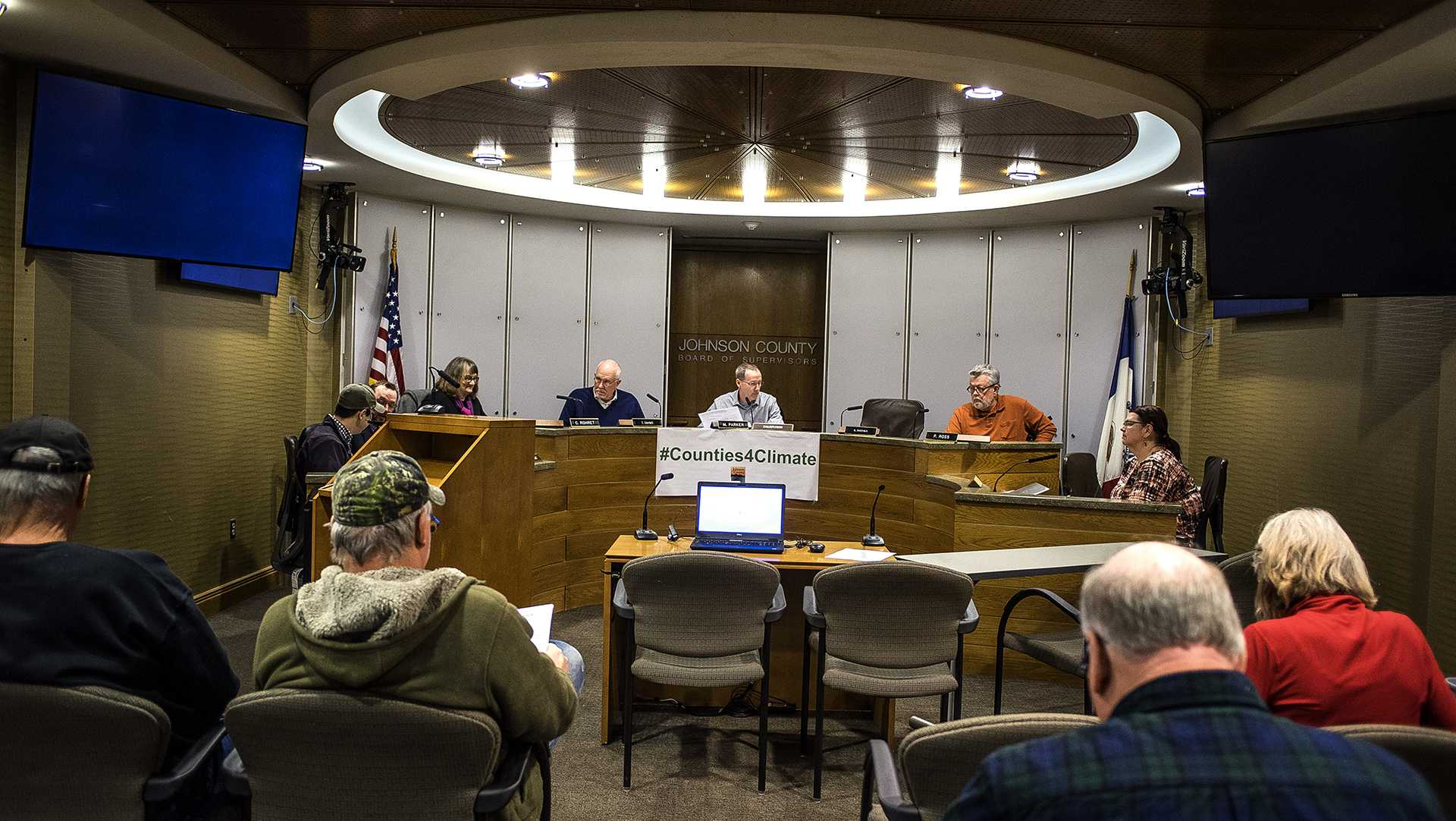 Proceedings were underway at a public hearing for the Planning and Zoning Commission in the Johnson County administration building on Monday, Feb. 12, 2018. The public hearing covered a variety of issues ranging from sustainability, infrastructure, land use and the local economy. (James Year/The Daily Iowan)