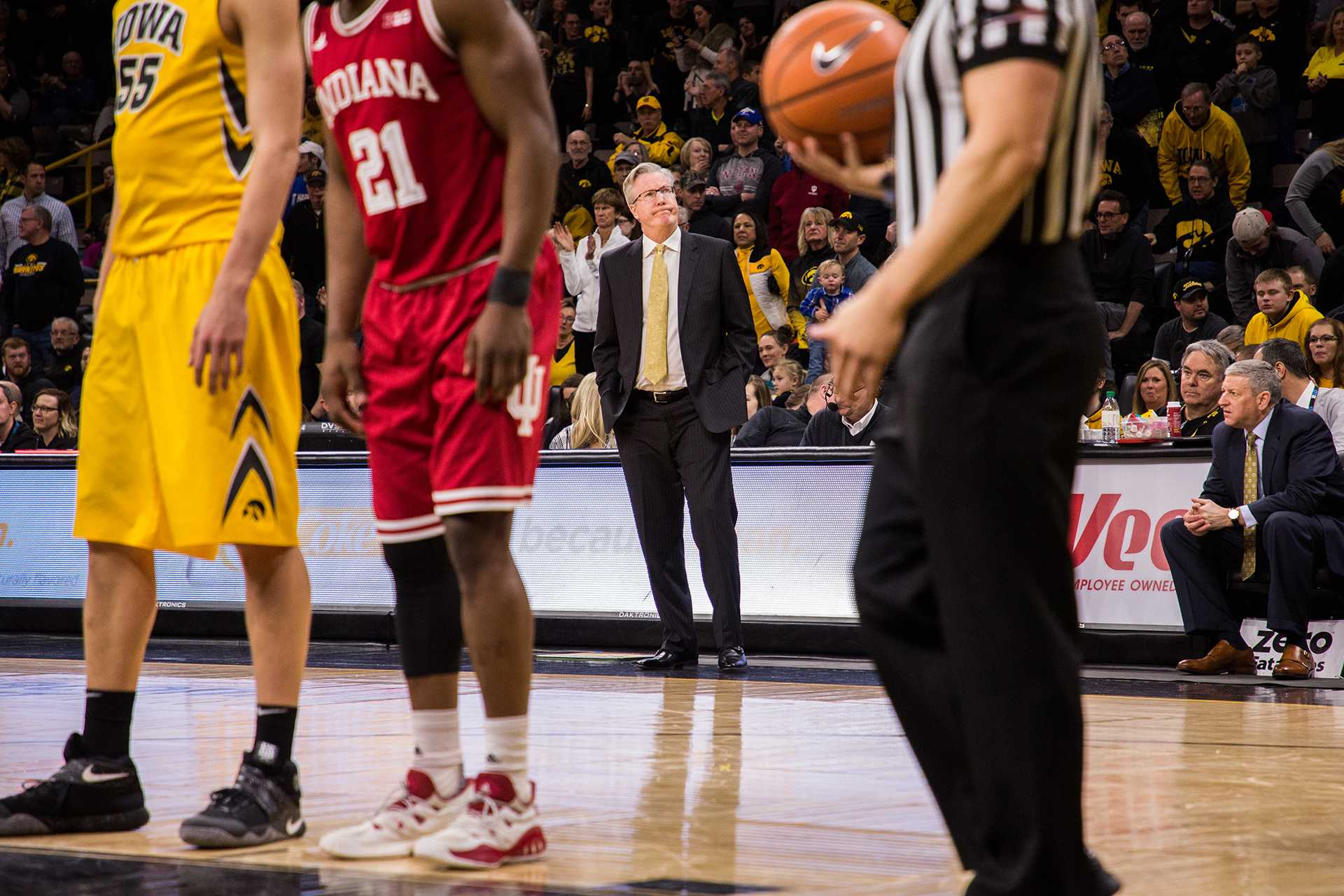 Iowa Head Coach Fran McCaffery reacts on the sidelines during a game against Indiana University at Carver-Hawkeye Arena on Saturday, Feb. 17, 2018. The Hoosiers defeated the Hawkeyes 84 to 82. (David Harmantas/The Daily Iowan)