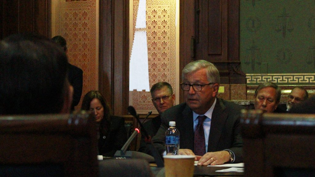 Regent President Mike Richards addresses the Iowa House Appropriations Committee at the state Capitol in Des Moines on Feb. 21, 2018. The meeting allowed regent university presidents to advocate for the Legislature to fund their institutions' fiscal 2019 appropriations requests.