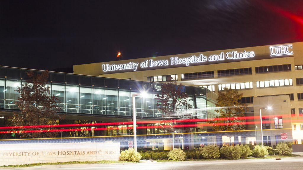 The University of Iowa Hospitals and Clinics building is seen from the west on Wednesday, Nov. 8, 2017.