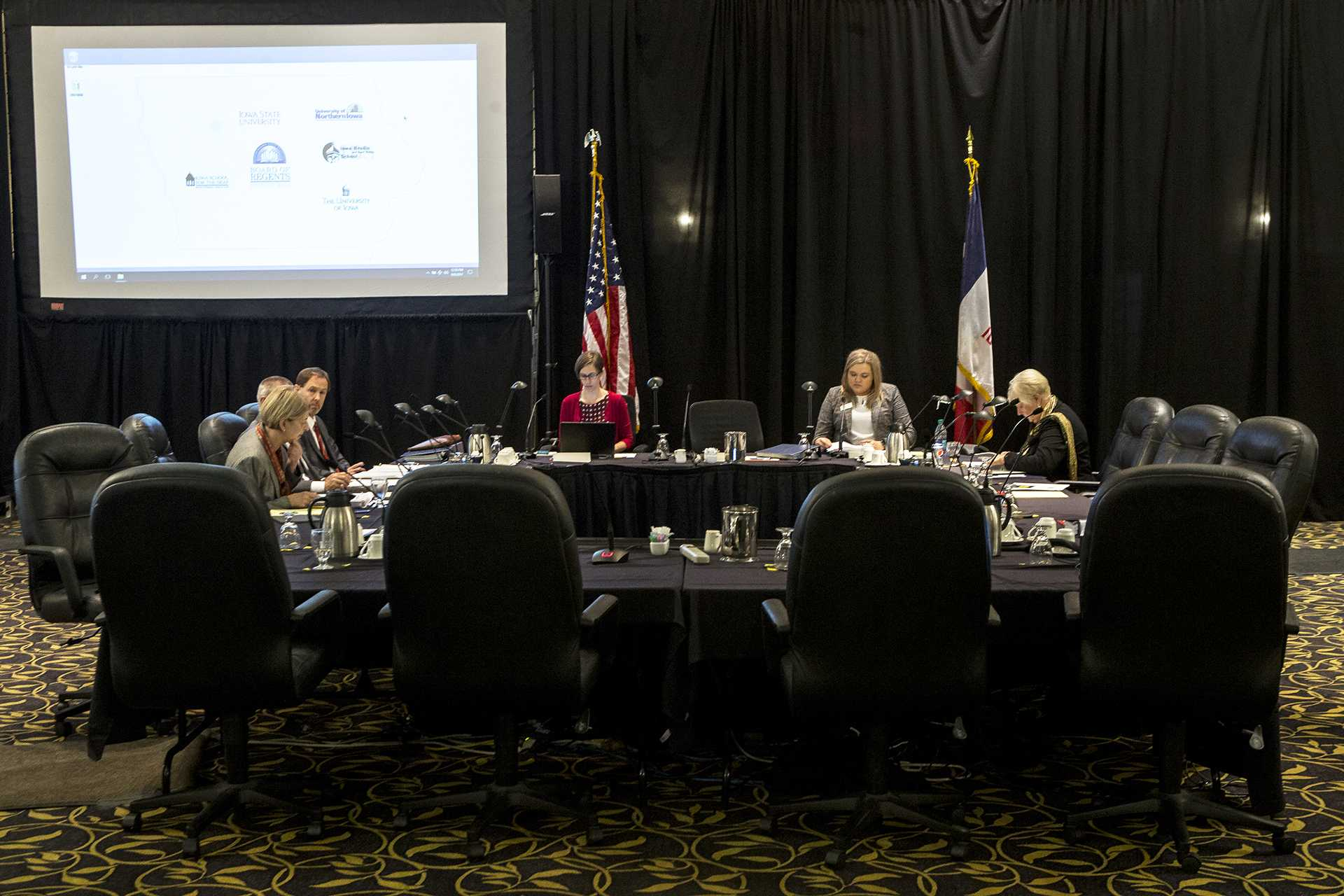 The Board of Regents meeting commences inside the IMU Main Lounge on Wednesday, Sept. 6, 2017. In attendance was Sarah Fisher Gardial, Dean of the Tippie College of Business, who addressed the removal of a full-time MBA program through the business school. (Ben Smith/The Daily Iowan)