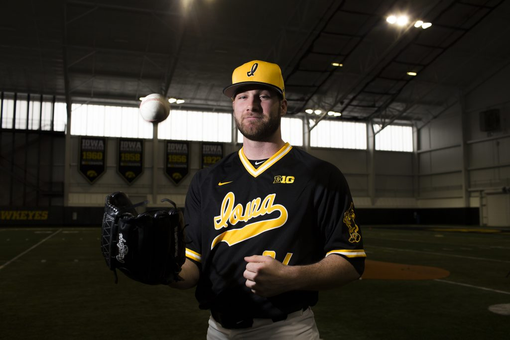 Iowa+pitcher+Nick+Allgeyer+poses+for+a+portrait+during+baseball+media+day+at+the+Hansen+Football+Performance+Center+on+Thursday%2C+Feb.+8%2C+2018.+The+Hawkeyes+begin+their+season+Feb.+16+against+Toledo+in+the+Diamond+9+Sunshine+State+Classic+Series+in+Kissimmee%2C+Fl.+%28Lily+Smith%2FThe+Daily+Iowan%29