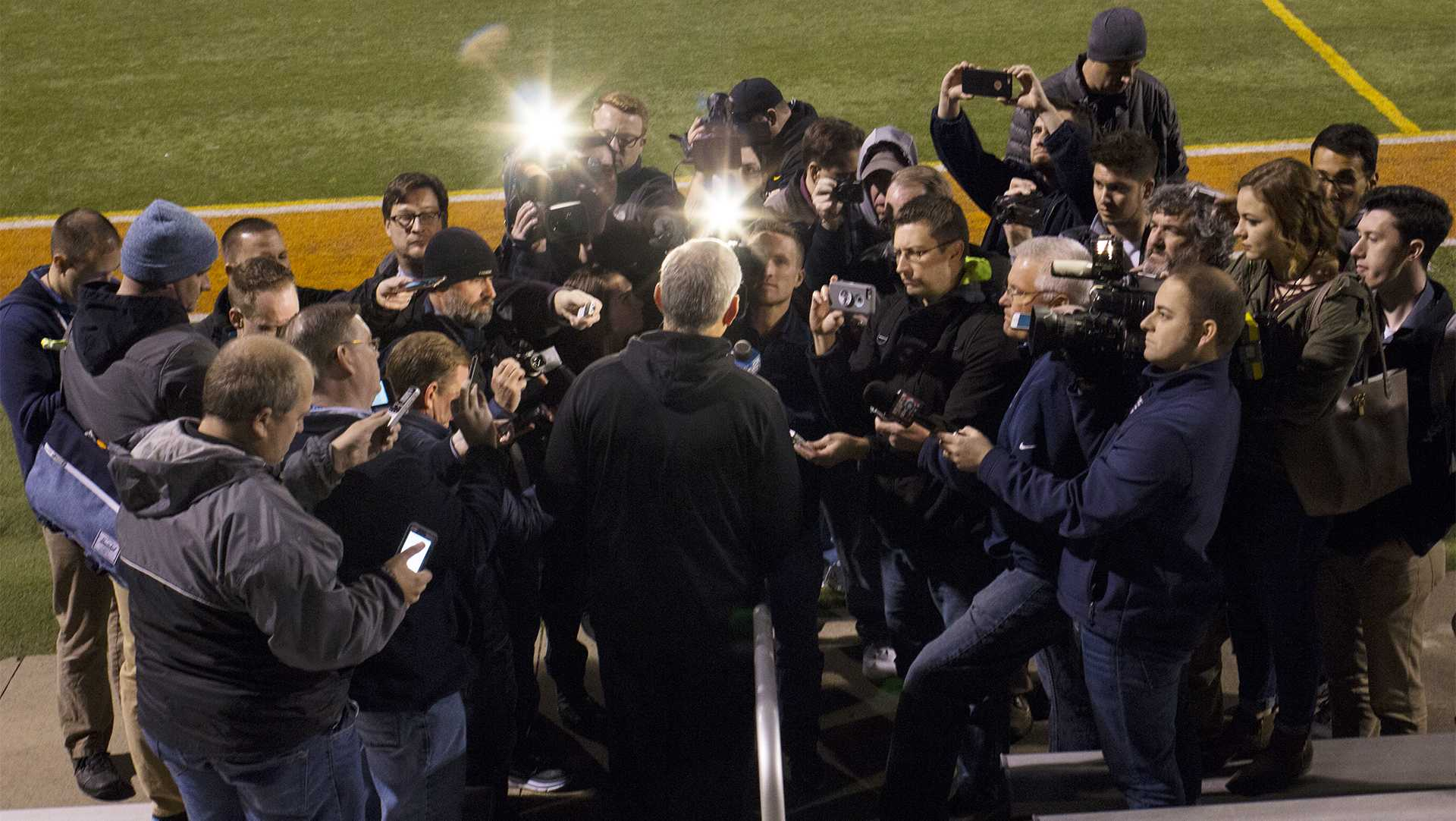 Iowa head coach Kirk Ferentz speaks with members of the media during a spring practice at Valley Stadium in Des Moines on Friday, April 7, 2017. The Hawkeyes will host a night spring game in Iowa City on Friday, April 21. (The Daily Iowan/Joseph Cress)