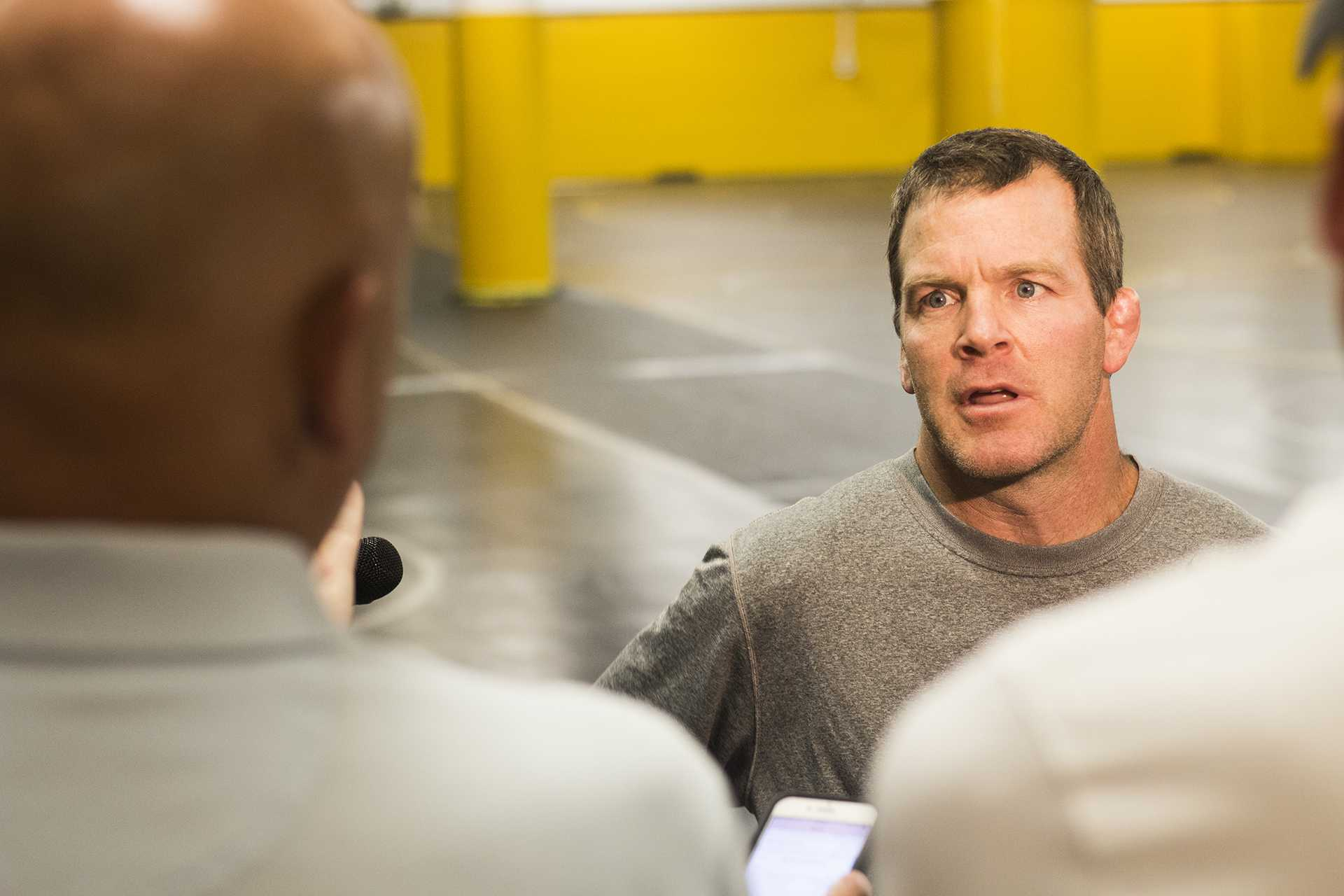 Iowa assistant coach Terry Brands speaks with members of the media during a wrestling practice inside the Dan Gable Wrestling Complex in Carver-Hawkeye Arena on Thursday, Aug. 10, 2017. Thomas Gilman is traveling to Paris, France, to compete for the World Championship on Aug. 25. Gilman is the fourth Hawkeye to represent the United States national team at 57 kg in a row since 2014. (Joseph Cress/The Daily Iowan)