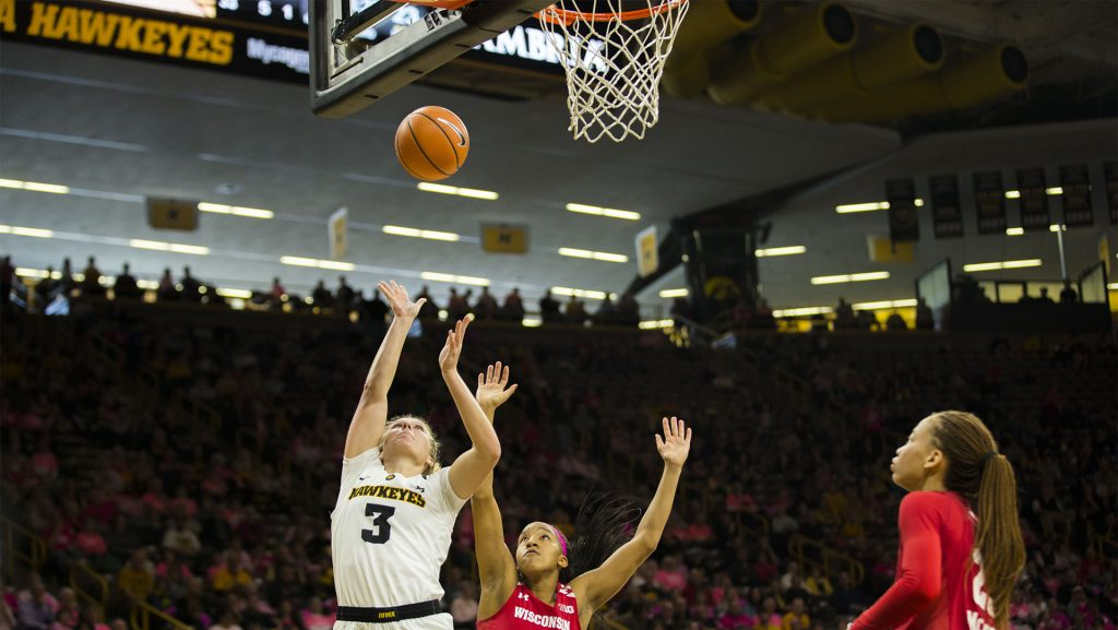 Iowa+guard+Makenzie+Meyer+attempts+a+shot+during+the+Iowa%2FWisconsin+basketball+game+at+Carver-Hawkeye+Arena+on+Sunday%2C+Feb.+18%2C+2018.+The+Hawkeyes+defeated+the+Badgers%2C+88-61.+%28Lily+Smith%2FThe+Daily+Iowan%29