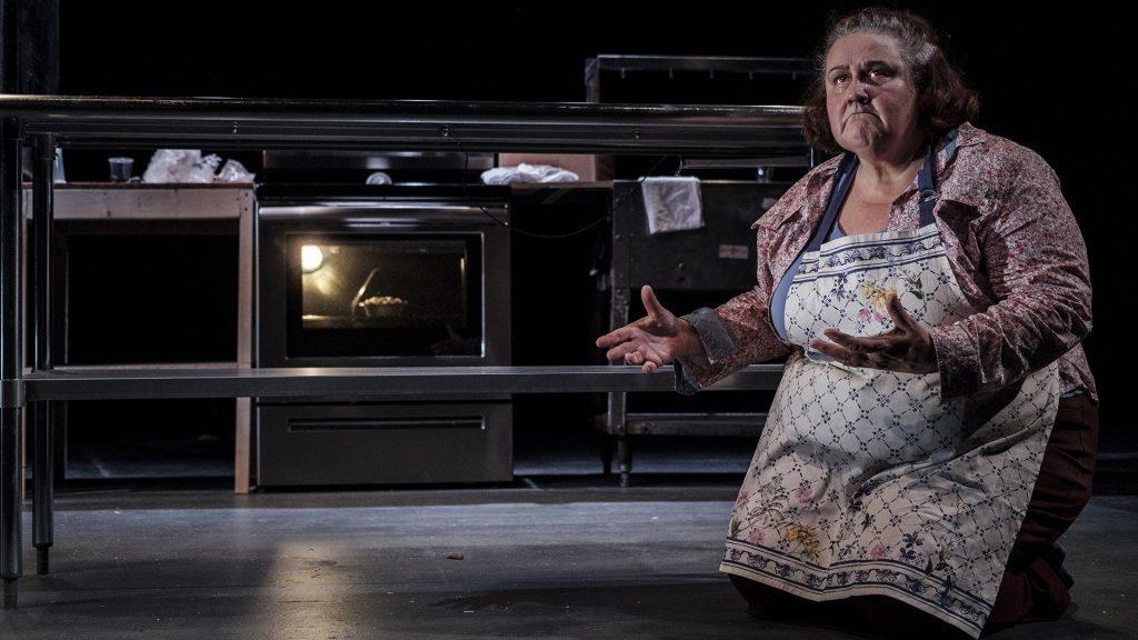 Marqueta Senters performs during a dress rehersal for Apples in Winter at the Riverside Theatre on Monday, Feb. 26, 2018. Apples in winter tells the story of a mother whose son is on death row and requested a slice of her apple pie as part of his last meal. (Nick Rohlman/The Daily Iowan)