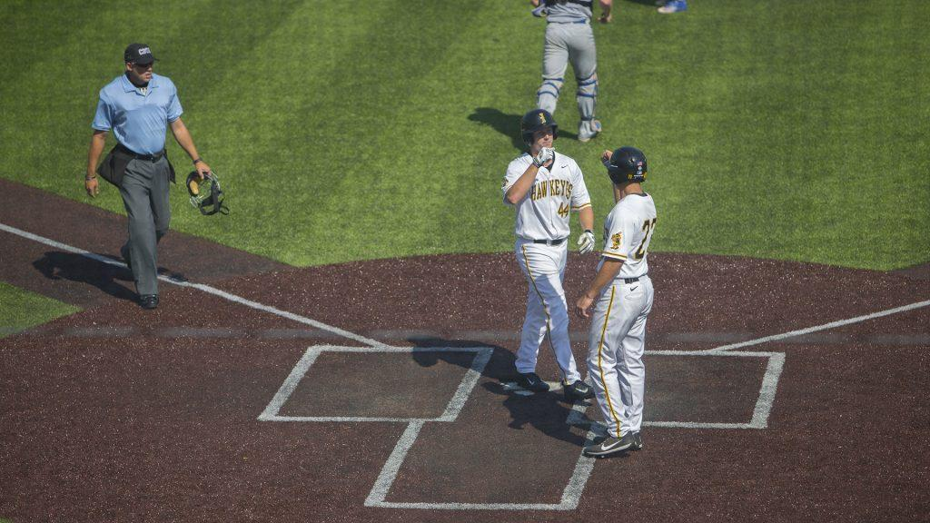 Iowa+outfielder+Robert+Neustrom+celebrates+a+run+during+the+Iowa%2FOntario+baseball+game+at+Duane+Banks+Field+on+Saturday%2C+Sept.+23%2C+2017.+The+Hawkeyes+defeated+the+Blue+Jays%2C+17-2.+%28Lily+Smith%2FThe+Daily+Iowan%29