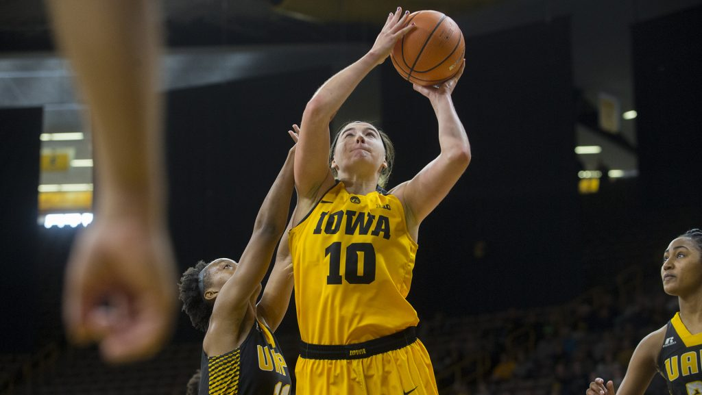Iowa+forward+Megan+Gustafson+attempts+a+shot+during+the+Iowa%2FArkansas-Pine+Bluff+basketball+game+in+Carver-Hawkeye+Arena+on+Saturday%2C+Dec.+9%2C+2017.+The+Hawkeyes+defeated+the+Golden+Lions%2C+85-45.+%28Lily+Smith%2FThe+Daily+Iowan%29