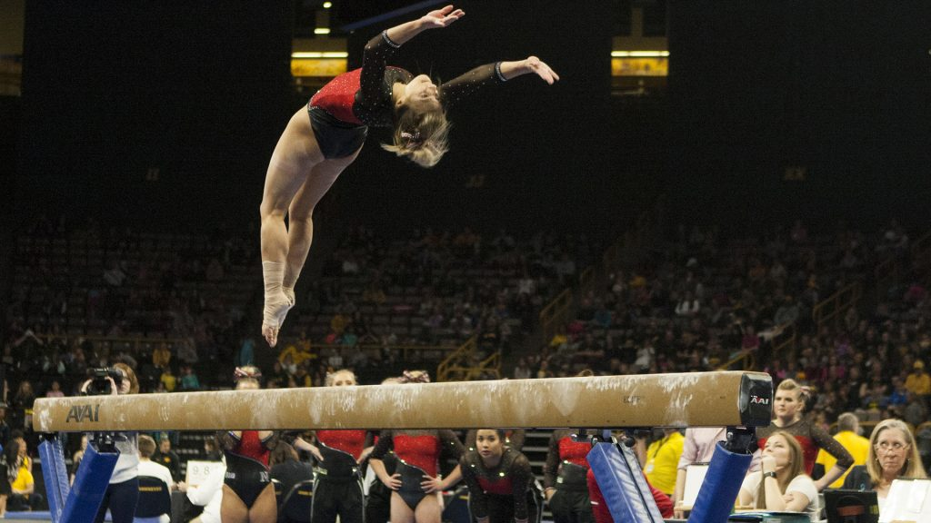 Nebraska%27s+Megan+Schweihofer+performs+on+beam+during+the+Iowa%2FNebraska+meet+at+Carver-Hawkeye+Arena+on+Saturday%2C+Feb.+10%2C+2018.+The+Cornhuskers+defeated+the+Hawkeyes+with+195.675+to+194.900.++%28Ashley+Morris%2FThe+Daily+Iowan%29