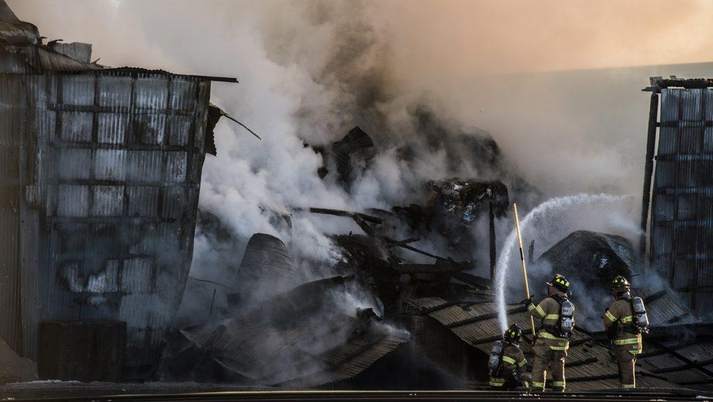 Emergency+services+respond+to+a+fire+at+City+Carton+on+Benton+St.+around+5+p.m.+on+Friday%2C+Feb.+16%2C++2018.+%28Ben+Allan+Smith%2FThe+Daily+Iowan%29
