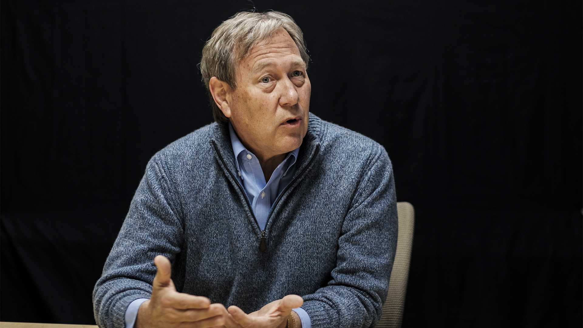 UI President Bruce Harreld answers questions during an interview at the Adler Journalism Building on Dec. 7, 2017. The interview covered topics including tuition, alcohol in the greek community, and financial aid. (Nick Rohlman/The Daily Iowan)