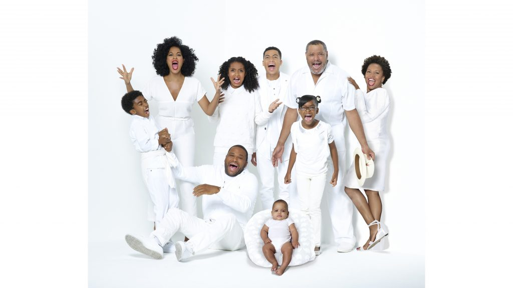"""Miles Brown as Jack Johnson, Tracee Ellis Ross as Rainbow Johnson, Yara Shahidi as Zoey Johnson, Anthony Anderson as Andre """"Dre"""" Johnson, Marcus Scribner as Andre Johnson, Jr., Austin and Berlin Gross as Devonte Johnson, Marsai Martin as Diane Johnson, Laurence Fishburne as Pops Johnson and Jenifer Lewis as Ruby Johnson star in ABC's """"black-ish."""" (ABC/Bob D'Amico)"""