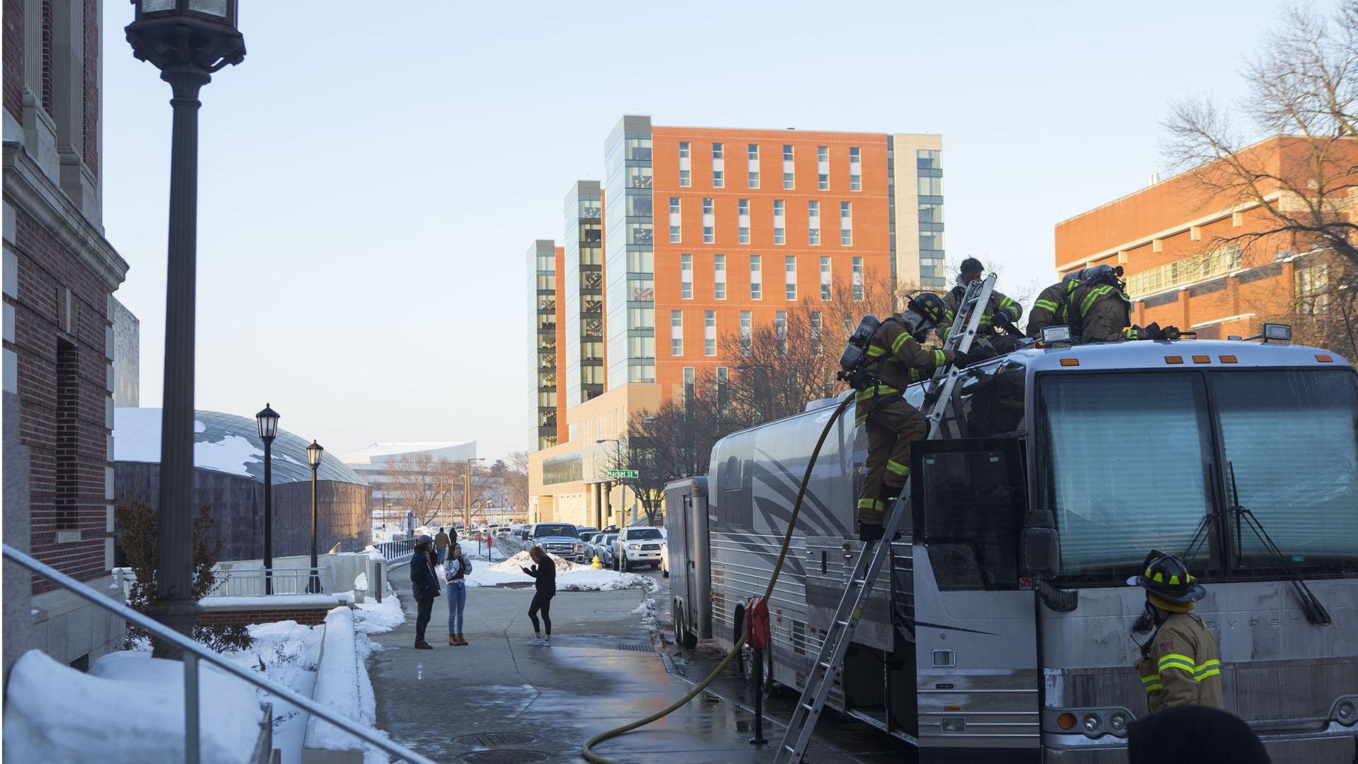 Grammy Award winning band Portugal. The Man's tour bus is seen outside the IMU on Tuesday, Feb. 13, 2018. The tour bus caught on fire Tuesday, preceding the band's sold performance in the IMU Main Lounge Tuesday night. (Lily Smith/The Daily Iowan)