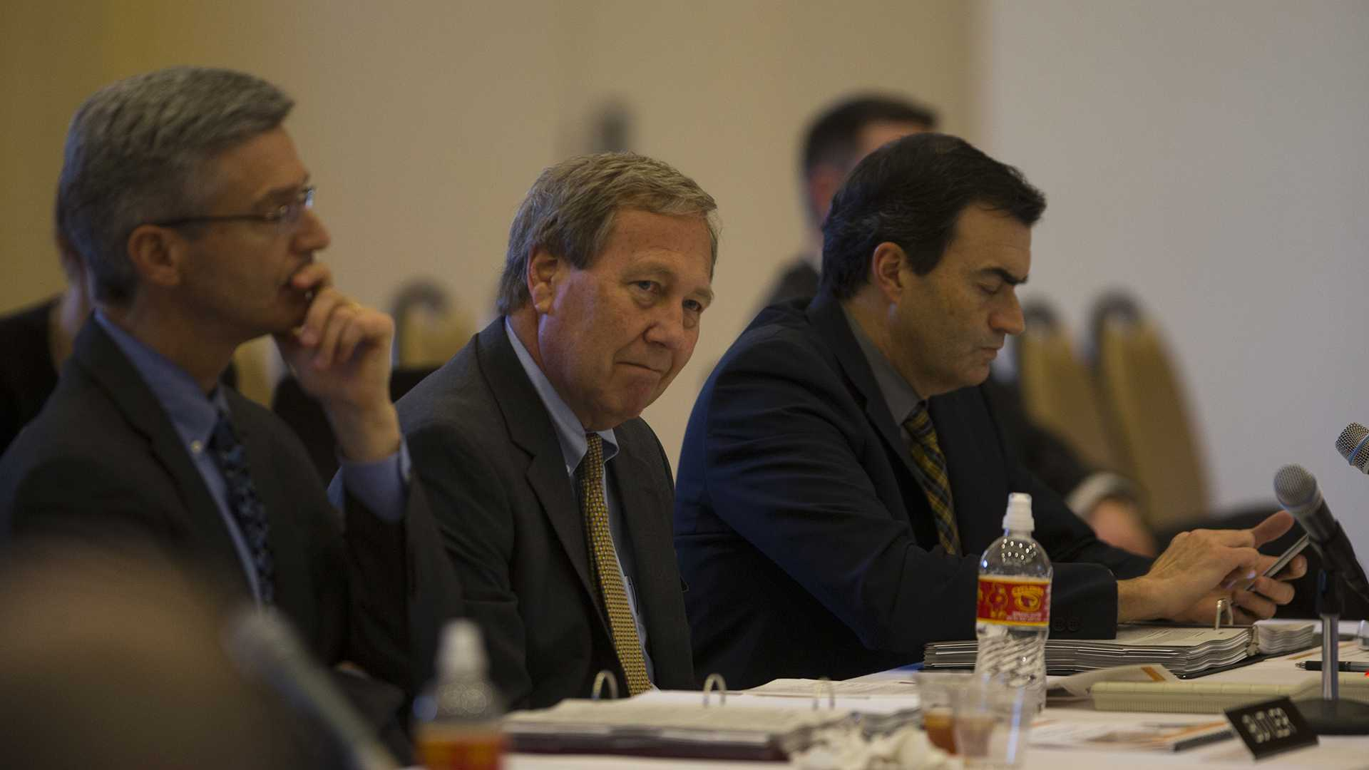 University of Iowa President Bruce Harreld listens during a meeting in the Reiman Ballroom of the ISU Alumni Center in Ames on Wednesday, Feb. 22, 2017. The Board of Regents will have a full board meeting on Feb. 23. (The Daily Iowan/Joseph Cress)