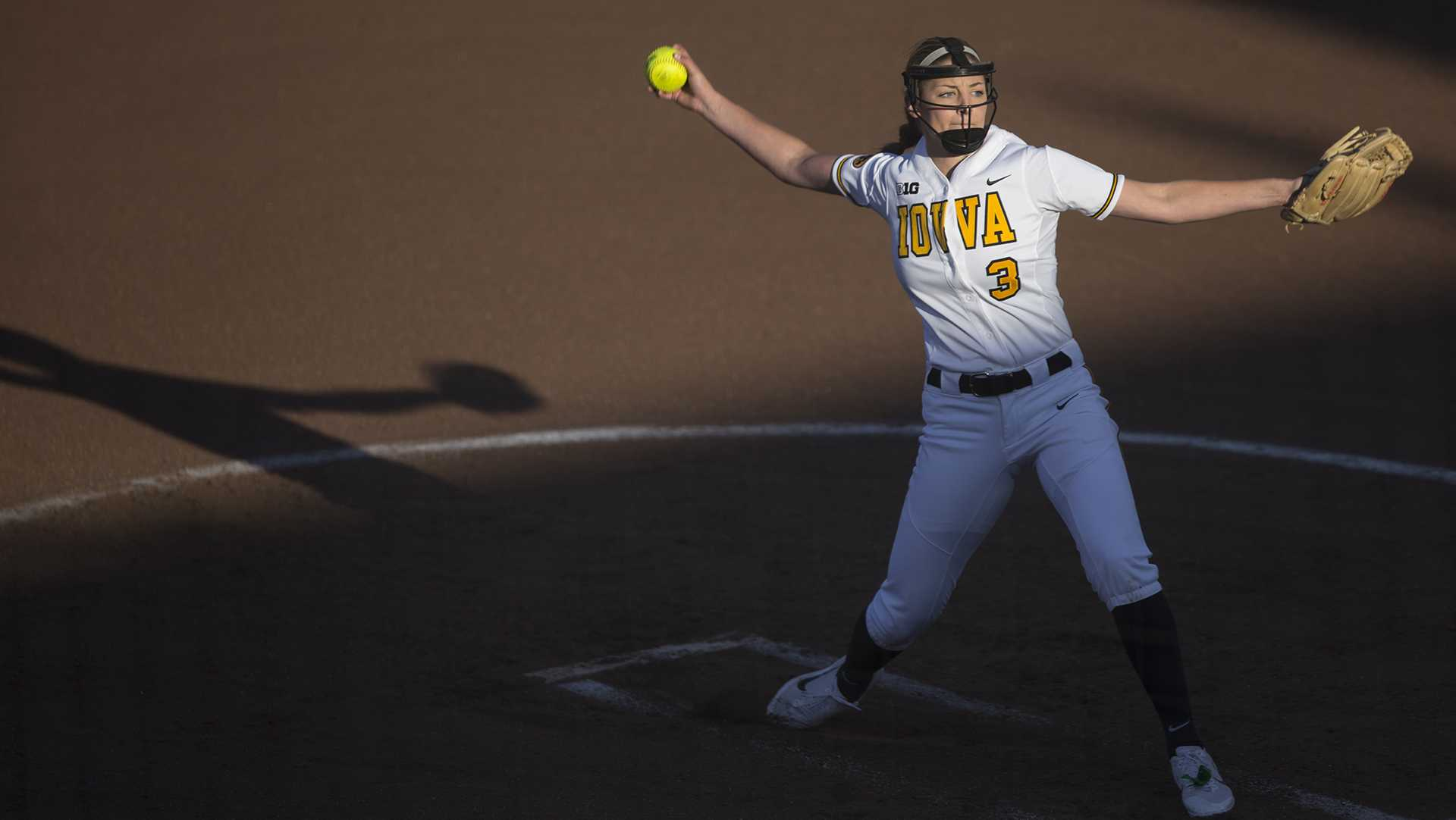 Iowa pitcher Allison Doocy winds up during a softball game against Valparaiso at Bob Pearl Field in Iowa City on Friday, March 17, 2017. The Hawkeyes defeated the Crusaders, 3-0. (The Daily Iowan/Joseph Cress)