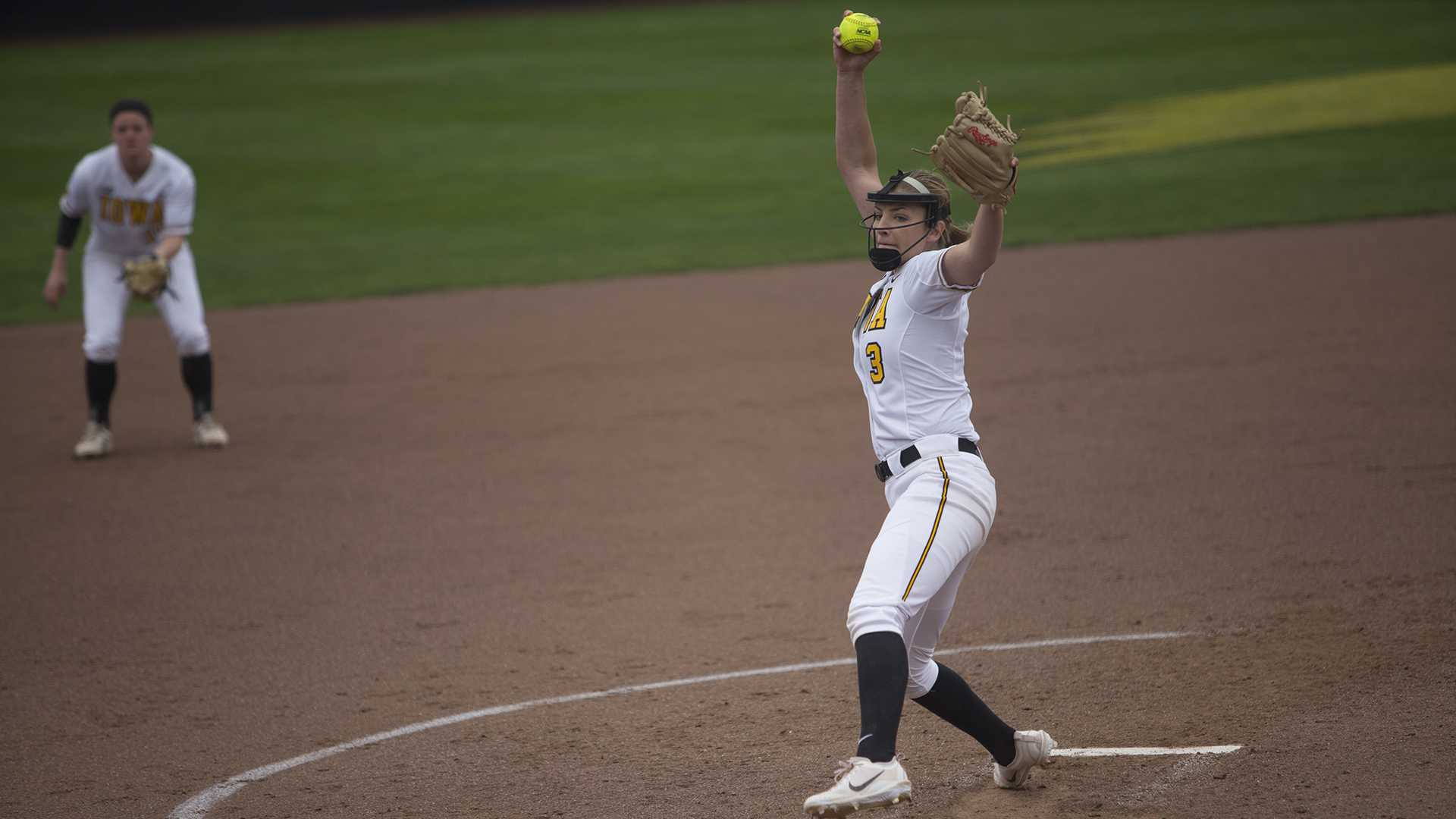 Iowa pitcher Allison Doocy throws a pitch during the first game of a double header against Nebraska at Bob Pearl on Wednesday, April 12, 2017. (File Photo/The Daily Iowan)