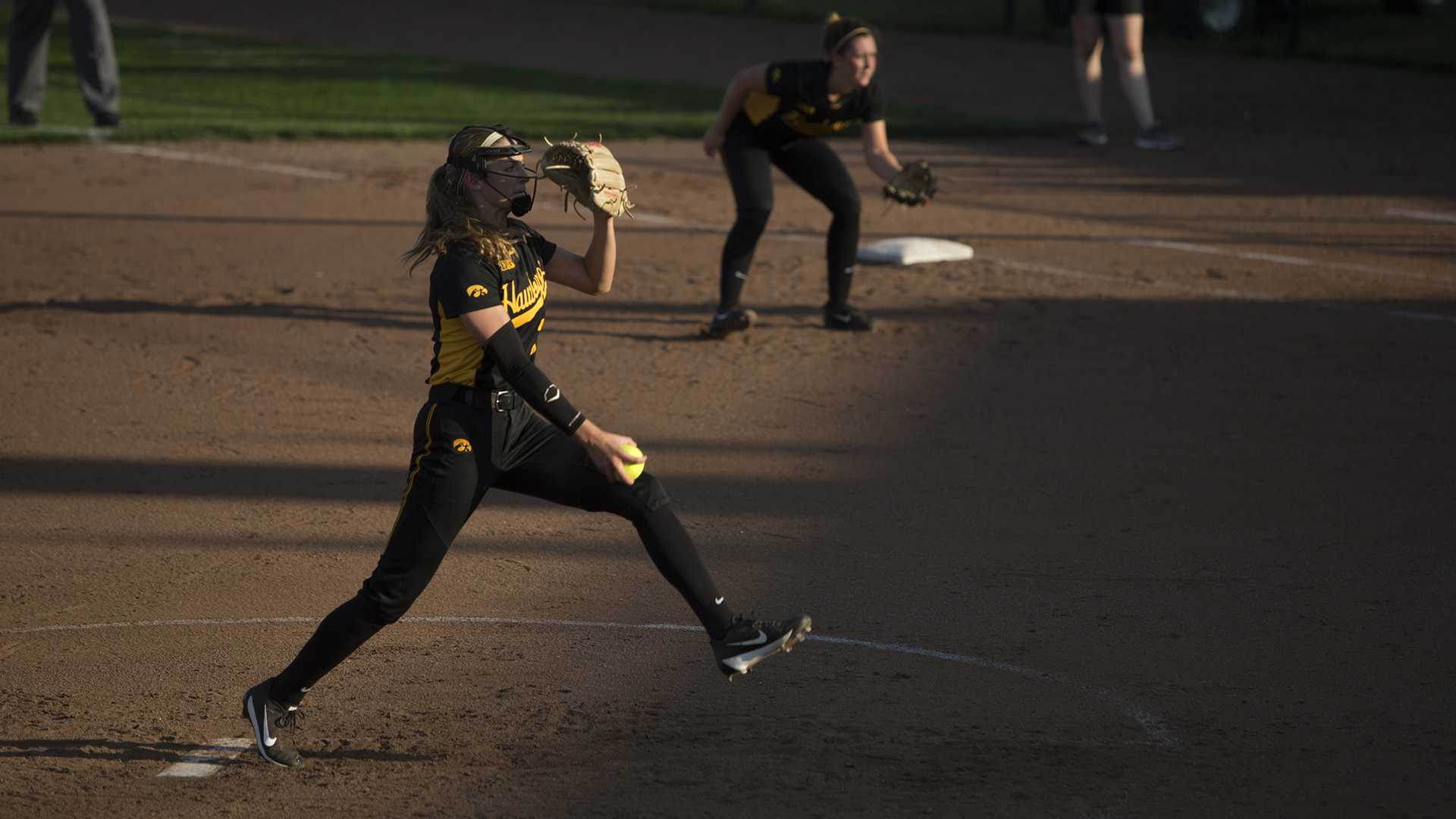 Allison Doocy pitches for the Hawks at the Pearl Field Hawkeye Softball complex on Friday, Sept. 22, 2017. Hawkeyes defeated Kirkwood Community College 5-3. (Ashley Morris/The Daily Iowan)