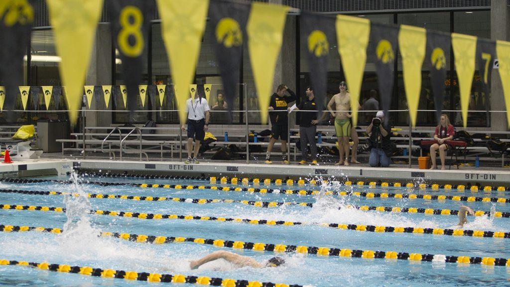 Swimmers+compete+in+the+Men%27s+200+freestyle+during+a+swim+meet+between+University+of+Iowa+and+Western+Illinois+on+Friday%2C+Feb.+2%2C+2018+at+the+University+Aquatic+Center.+Swimmers+competed+in+a+variety+of+events+including+relays+and+freestyle+swimming.+%28Katie+Goodale%2FThe+Daily+Iowan%29