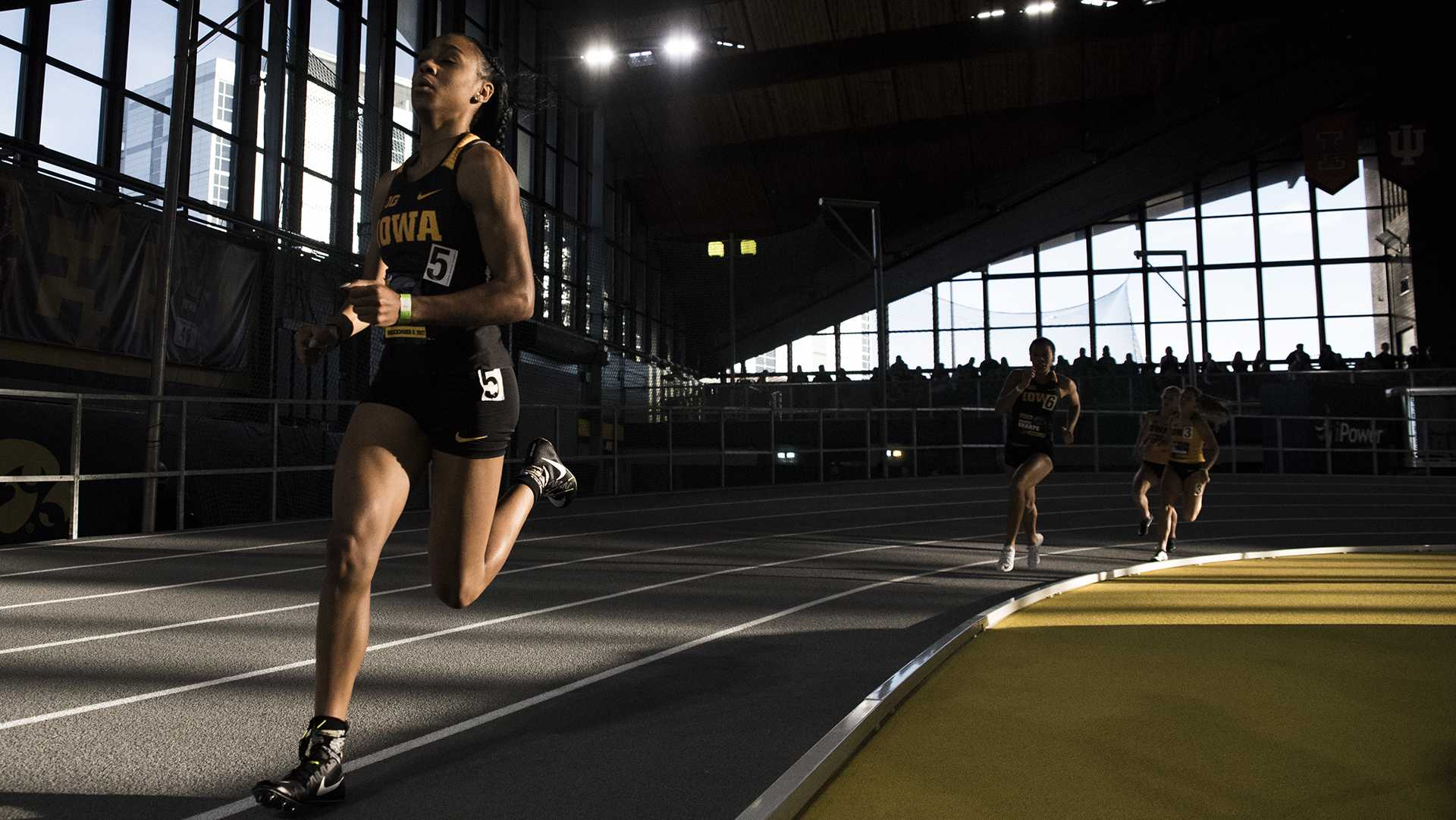 Iowa's Briana Guillory participates in the Women's 600m Run during the annual Black and Gold Intrasquad Meet at the UI Recreation Building on Saturday, Dec. 9, 2017. Guillory finished first with a time of 1:30:01. The Hawkeyes will host the next meet on January 13. (Ben Allan Smith/The Daily Iowan)