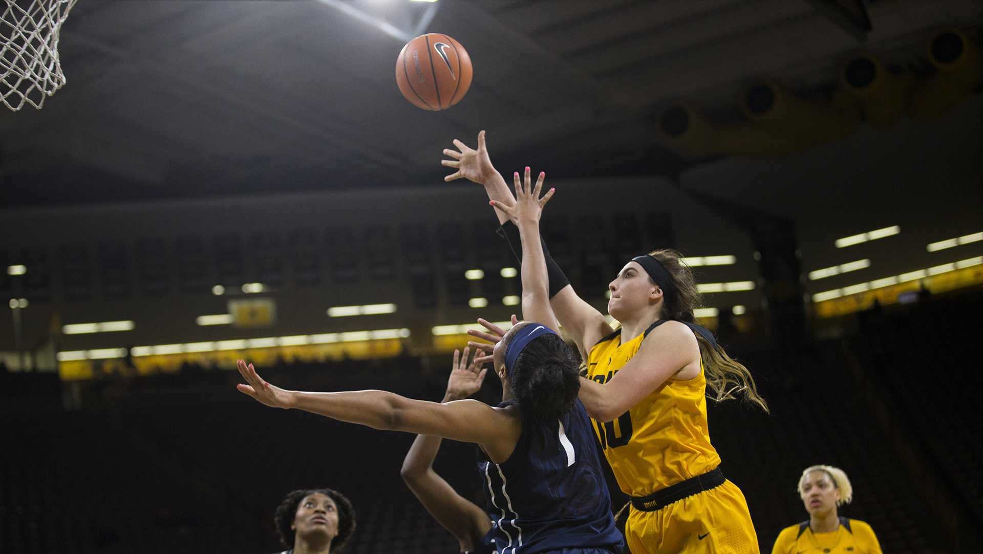 Iowa forward Megan Gustafson goes for an rebound during the Iowa/Penn State basketball game at Carver-Hawkeye Arena on Thursday, Feb. 8, 2018. The Hawkeyes defeated the Nittany Lions, 80-76.  (Lily Smith/The Daily Iowan)