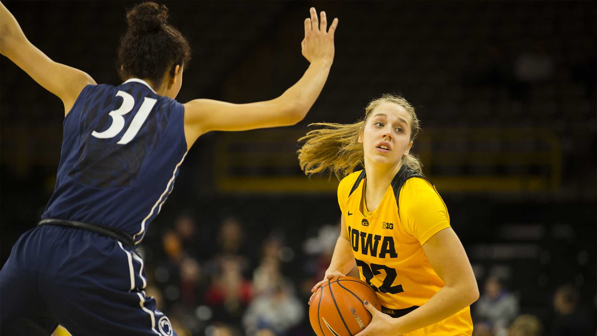 Iowa guard Kathleen Doyle looks to pass the ball during the Iowa/Penn State basketball game at Carver-Hawkeye Arena on Thursday, Feb. 8, 2018. The Hawkeyes defeated the Nittany Lions, 80-76.  (Lily Smith/The Daily Iowan)