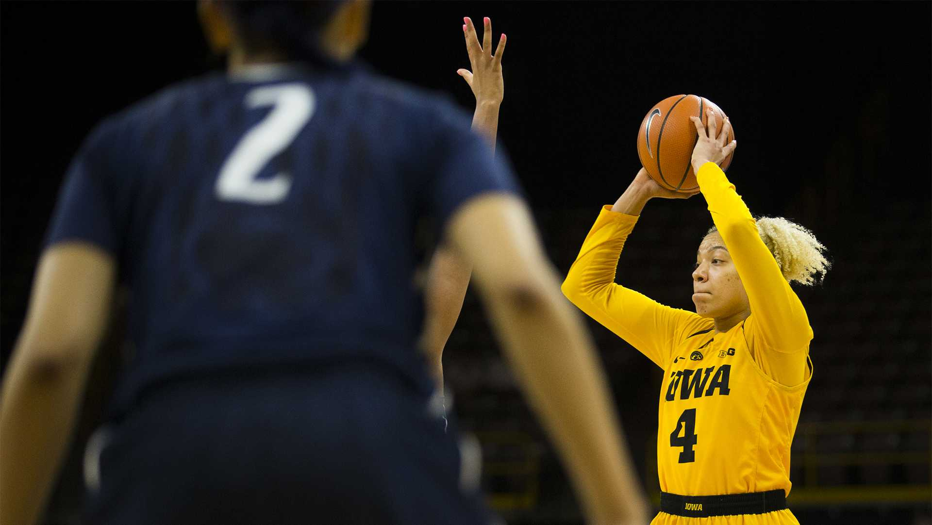 Iowa forward Chase Coley looks to pass the ball during the Iowa/Penn State basketball game at Carver-Hawkeye Arena on Thursday, Feb. 8, 2018. The Hawkeyes defeated the Nittany Lions, 80-76.  (Lily Smith/The Daily Iowan)