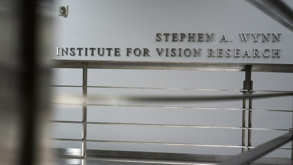 The+Stephen+A.+Wynn+Institute+for+Vision+Research+is+pictured+inside+the+Medical+Education+and+Research+Facility+on+Wednesday%2C+Jan.+31%2C+2018.+Wynn%2C+a+major+donor+to+the+UI%2C+was+recently+accused+of+sexual+assault.+The+University+made+the+decision+to+remove+Wynn%27s+name+from+the+center%27s+title.+%28Ben+Allan+Smith%2FThe+Daily+Iowan%29