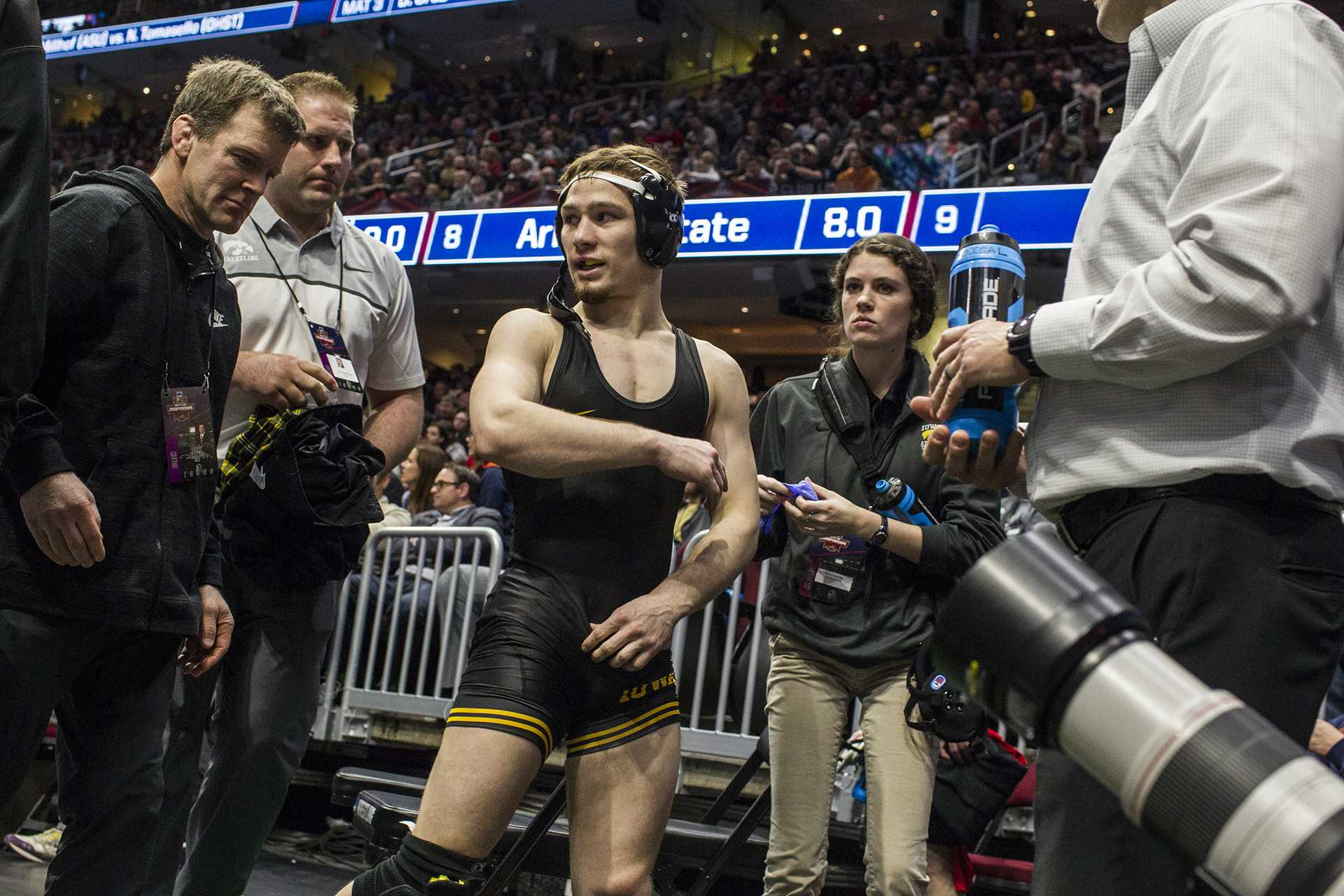 Iowa's 125-pound Spencer Lee walks off the mat after defeating Purdue's Luke Welch during Session 2 of the NCAAs Wrestling Championships at Quicken Loans Arena in Cleveland, Ohio on Thursday, March 15, 2018.