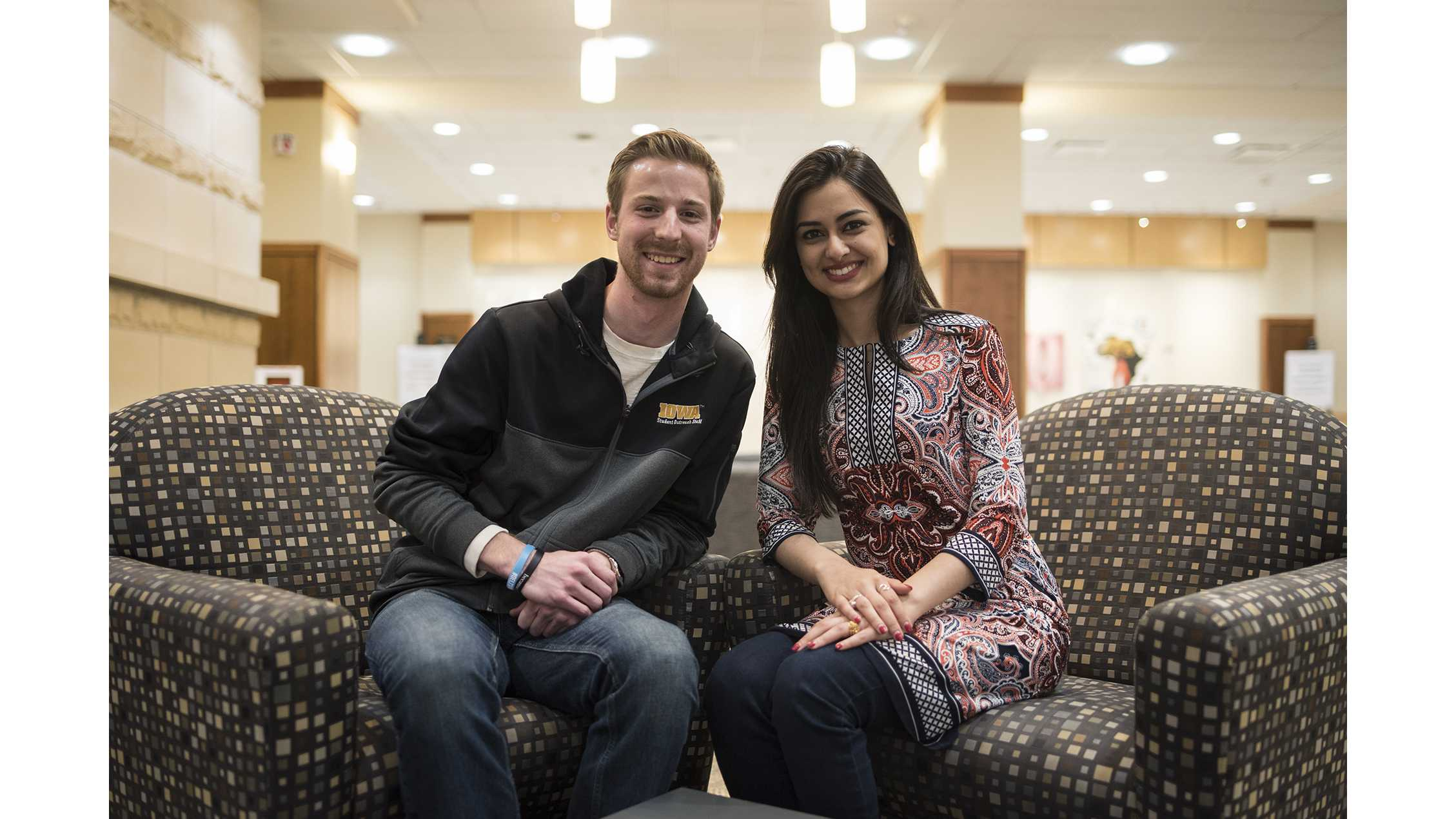 UISG Vice President, Heath Schintler, and President, Hira Mustafa, pose for portraits inside the Hubbard Commons of the IMU following the election results on Friday, March 30, 2018. Schintler and Mustafa are running on the Surge Party ticket who won the UISG election for the year 2018-19. (Ben Allan Smith/The Daily Iowan)