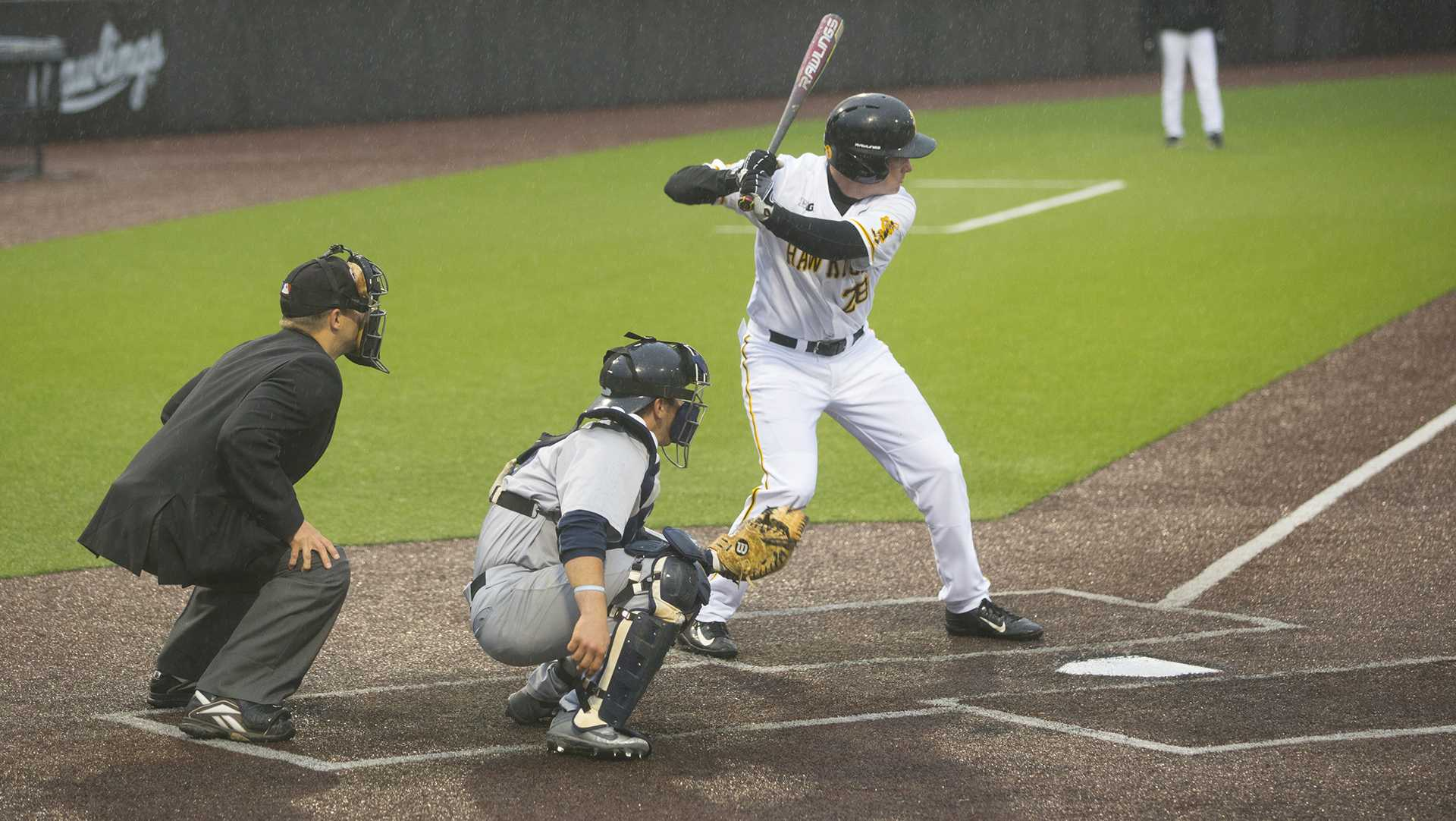 Iowa's Chris Whelan bats during game one of the Iowa-Penn State baseball series at Duane Banks Field on Friday, April 28, 2017. The Hawkeyes swept the rain delayed, late night double header, 4-2 and 8-2, respectively. (The Daily Iowan/Lily Smith)