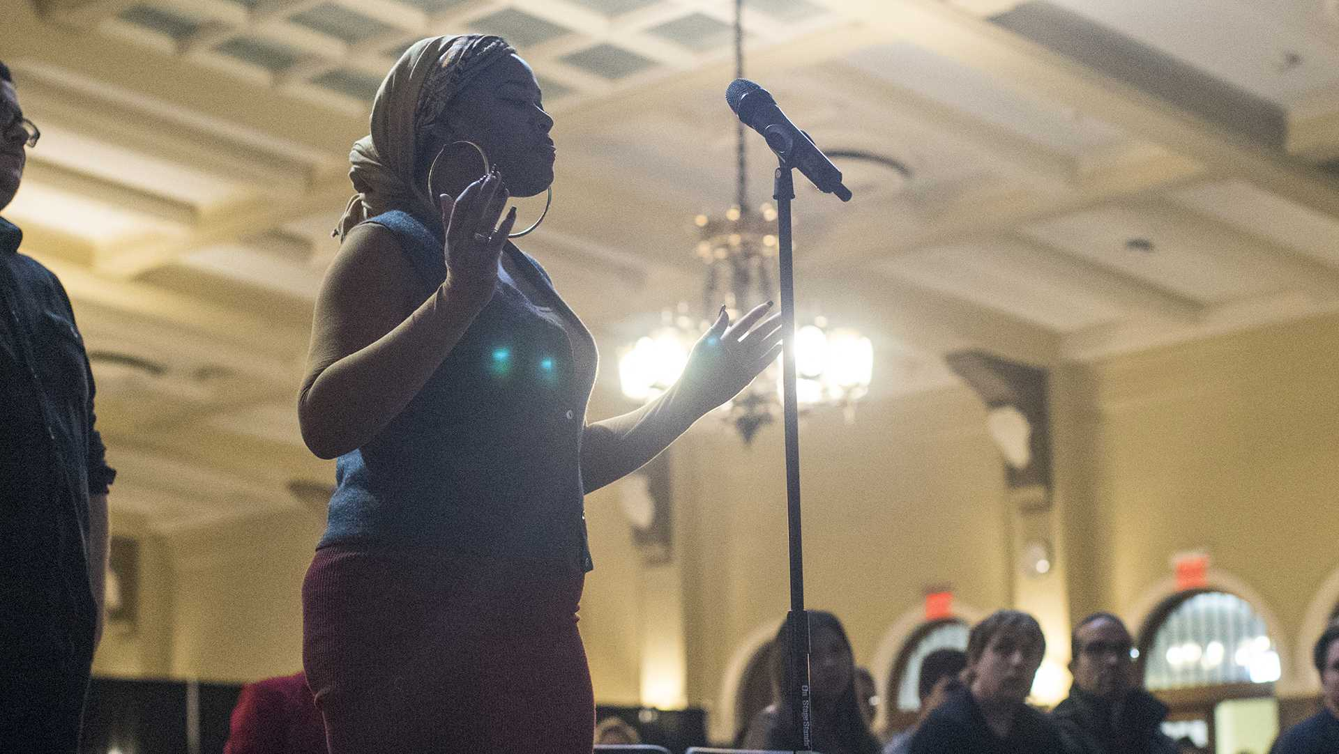 Student, Brooke Kimbrough, poses a question on racial inequality and First Amendment rights at the IMU on Tuesday, March 28, 2017. The University held a