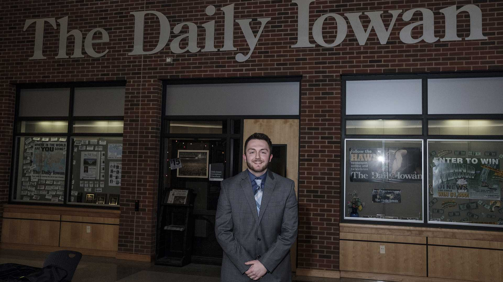 2018-2019 Daily Iowan Editor in Chief Gage Miskimen poses for a photo in the Adler Journalism Building on Monday, Feb. 5, 2018. (Nick Rohlman/The Daily Iowan)
