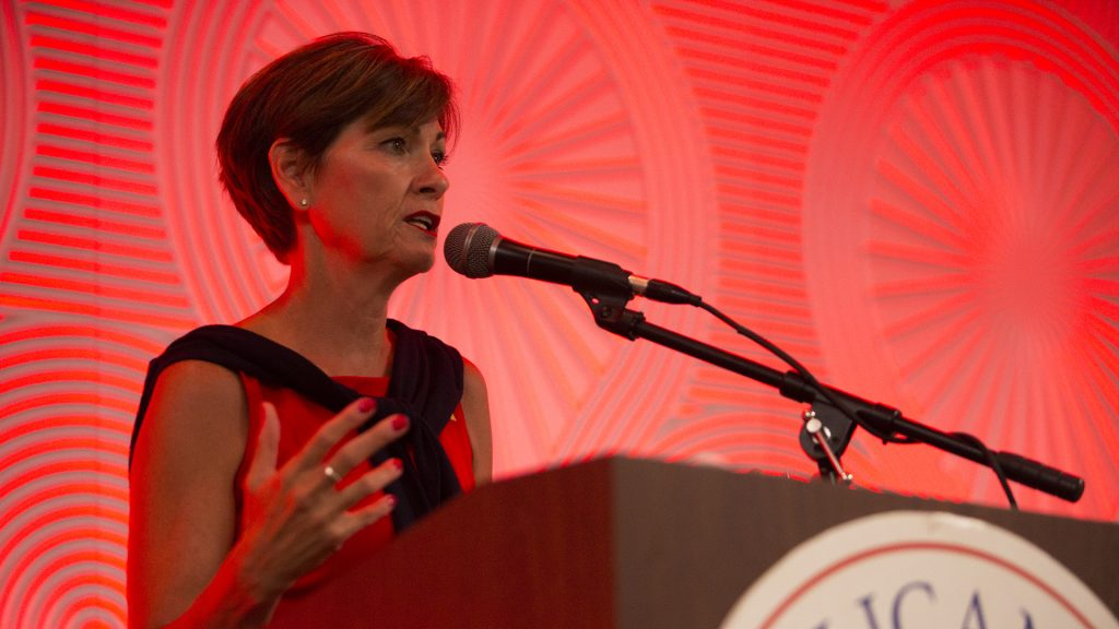 Iowa Gov. Kim Reynolds speaks during a Johnson County Republicans event in Coralville at the Radisson Hotel & Conference Center on Thursday, July 6, 2017. Iowa Gov. Reynolds spoke to Republican constituents who had a minimum donation of $25 per individual to attend, $125 to host, and $500 to sponsor. (Joseph Cress/The Daily Iowan)