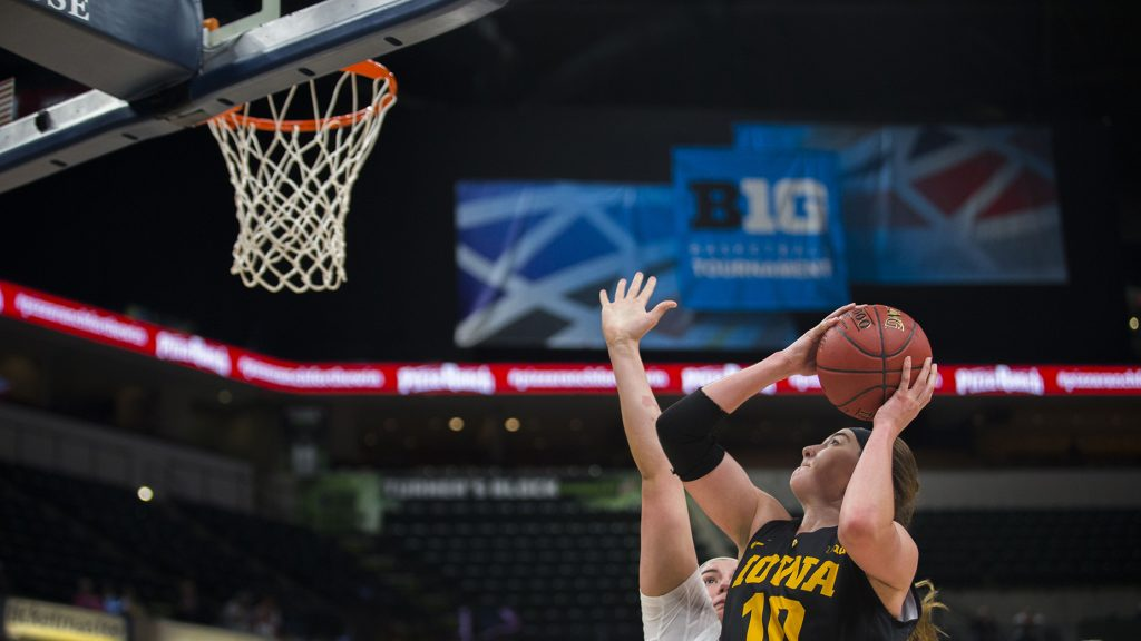 Iowa+forward+Megan+Gustafson+attempts+a+shot+during+the+Iowa%2FMinnesota+Big+Ten+tournament+basketball+game+at+Bankers+Life+Fieldhouse+in+Indianapolis+on+Friday%2C+March%2C+2%2C+2018.+The+Golden+Gophers+defeated+the+Hawkeyes%2C+90-89.+%28Lily+Smith%2FThe+Daily+Iowan%29