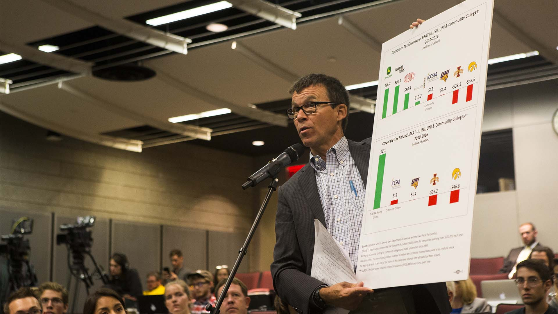 State legislator Joe Bolkcom holds a graphic during a state Board of Regents tuition task force meeting in Kollros Auditorium in Biology Building East in Iowa City on Monday, Aug. 14, 2017. (Joseph Cress/The Daily Iowan)