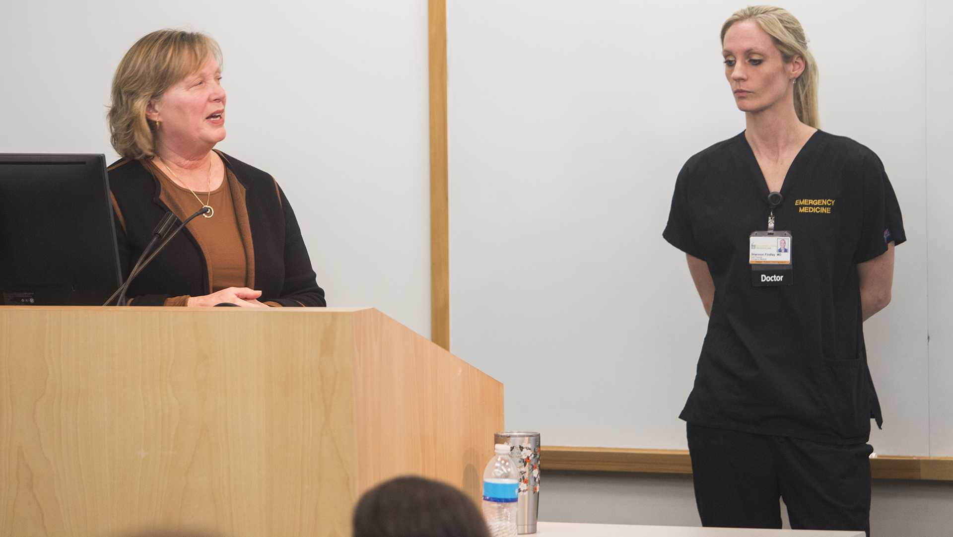 Pamela Terrill, NP (left) and Shannon Findlay, MD (right) answer questions during Human Trafficking: Be Prepared to Intervene at the Carver College of Medicine on March 26, 2018. The event covered ways to identify human trafficking and how healthcare providers can intervene. (Katina Zentz/The Daily Iowan)