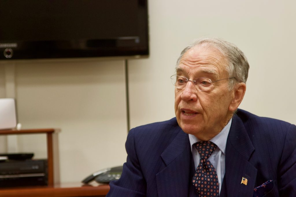 Sen.+Chuck+Grassley%2C+R-Iowa%2C+sat+down+with+Daily+Iowan+reporters+on+Tuesday%2C+March+13%2C+2018.+Grassley+discussed+his+disagreement+with+President+Trump%27s+decision+to+remove+Secretary+of+State+Rex+Tillerson.+%28Gage+Miskimen%2FThe+Daily+Iowan%29