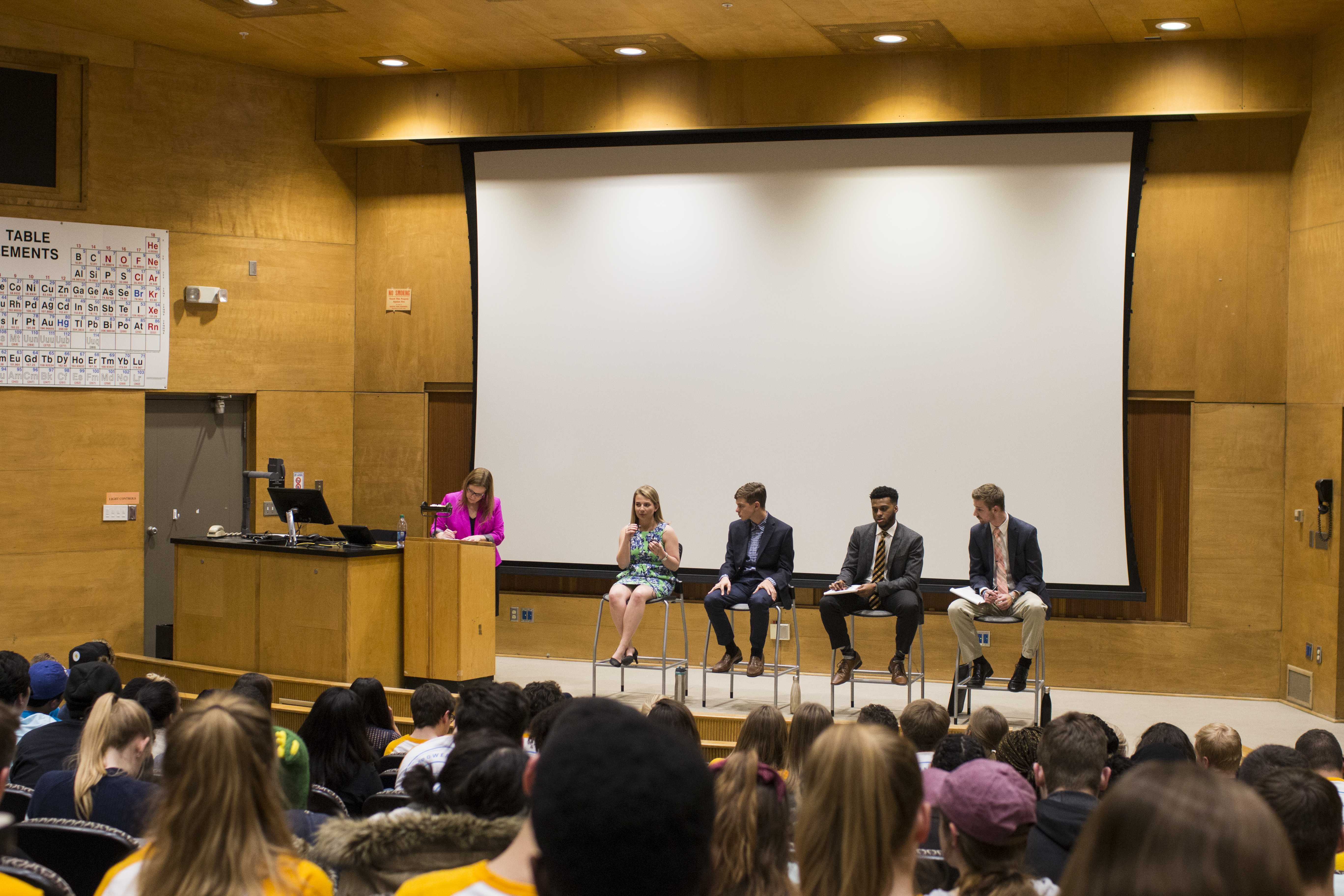 Vice Presidential candidates address questions on campus issues during the UISG VP debate at the Shambaugh Auditorium on March 22, 2018. The candidates discussed their strategies in bettering student life and how to improve university programs. (Katina Zentz/The Daily Iowan)