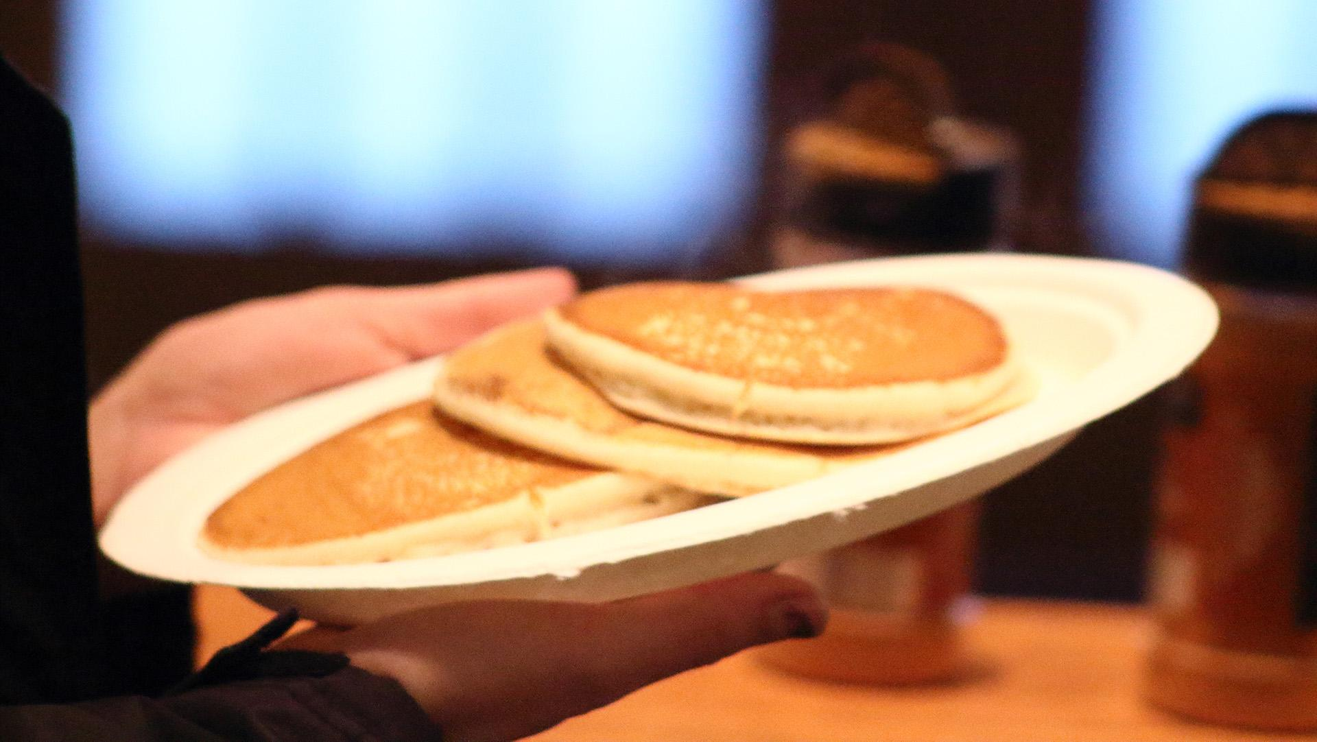 Pancakes made by the Pancake Man for students in the IMU on Monday, Dec. 11, 2017. The event was part of finals week events held to relieve the stress of students. (Ashley Morris/The Daily Iowan)