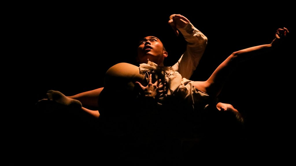 Graduate students in the Universtiy of Iowas Department of Dance and guest artists perform in the Graduate Thesis Concert at Space Place Theater on Tuesday, Mar. 27, 2018. (David Harmantas/The Daily Iowan)
