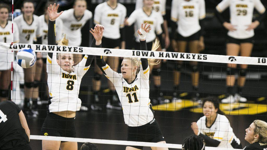Iowa%27s+Reghan+Coyle+and+middle+blocker+Kelsey+O%27Neill+block+a+spike+during+an+Iowa%2FPurdue+volleyball+game+in+Carver-Hawkeye+Arena+on+Sunday%2C+Nov.+5%2C+2017.+The+Boilermakers+defeated+the+Hawkeyes%2C+3-2.+%28Joseph+Cress%2FThe+Daily+Iowan%29