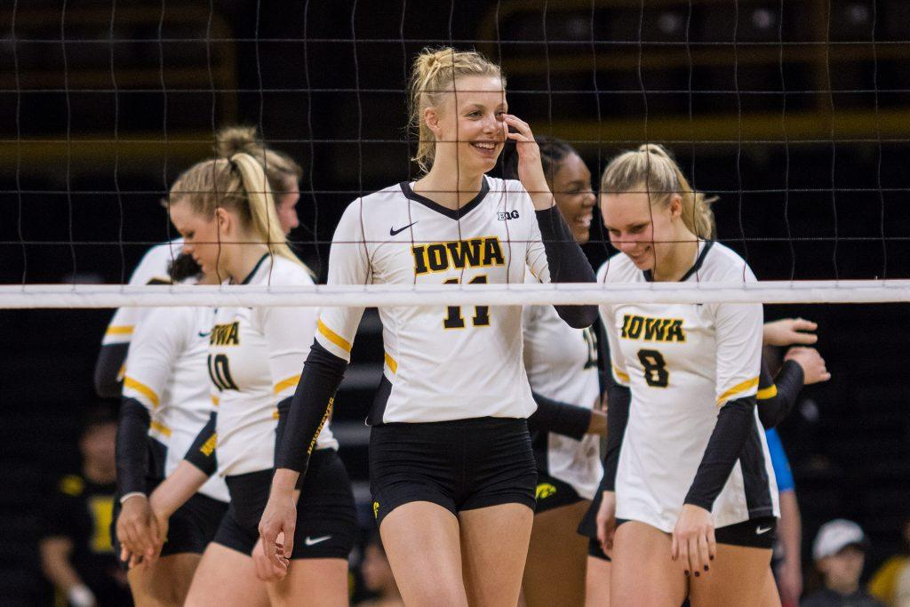 Iowa+Hawkeye+Volleyball+player+Kelsey+O%E2%80%99Neill+laughs+during+a+match+against+the+University+of+Illinois+Fighting+Illini+on+Friday%2C+Oct.+19%2C+2017.+The+Illini+defeated+the+Hawkeyes+three+sets+to+two.+%28David+Harmantas%2FThe+Daily+Iowan%29