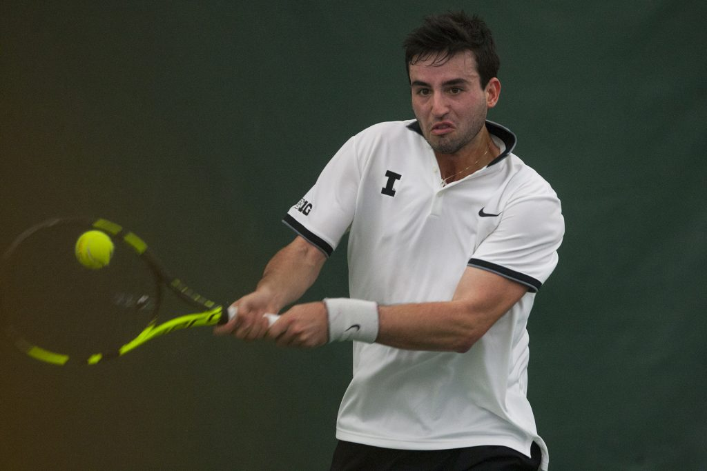 Iowas Josh Silverstein returns a ball during a mens tennis meet against Wisconsin in the Hawkeye Tennis & Recreation Complex on Sunday, March 5, 2017. The Hawkeyes lost to the Badgers, 5-2. (The Daily Iowan/Joseph Cress)