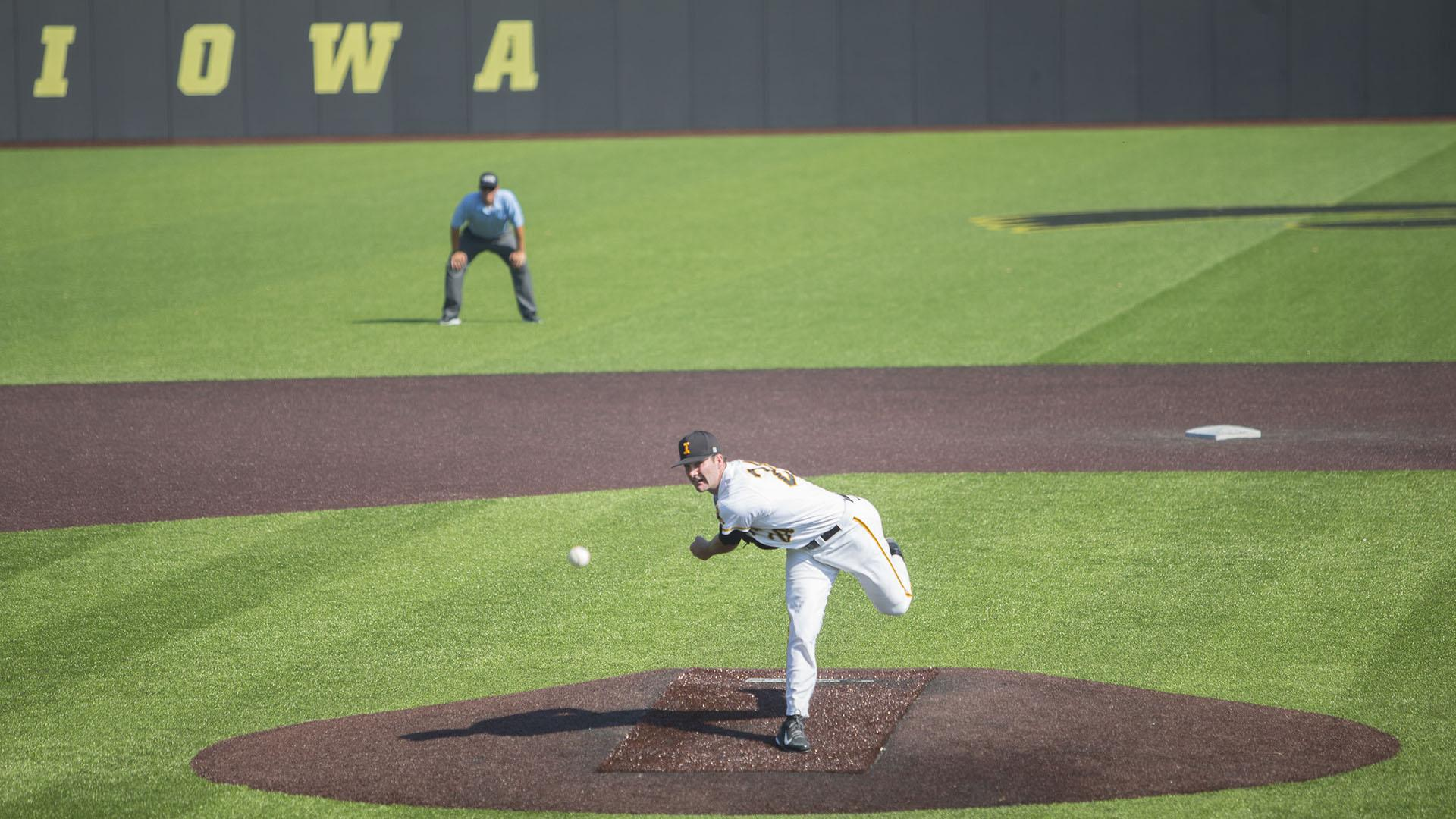 Iowa's Nick Allgeyer pitches during the Iowa/Ontario baseball game at Duane Banks Field on Saturday, Sept. 23, 2017. The Hawkeyes defeated the Blue Jays, 17-2. (Lily Smith/The Daily Iowan)
